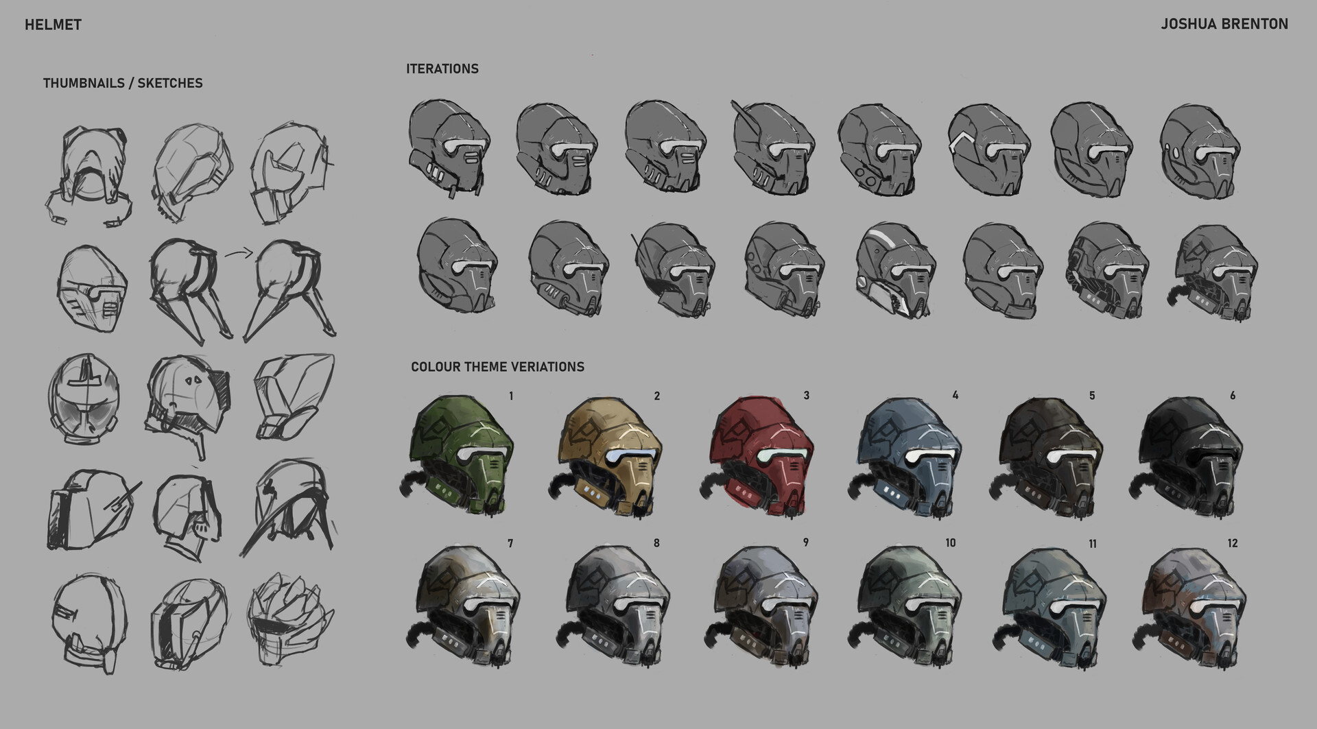 Helmet design first, with thumbnails, then iterations and colour scheme variants