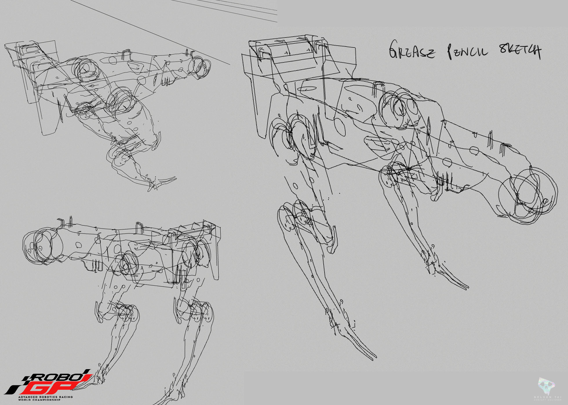 Initial grease pencil sketches to work out the logic and proportions of the design! Super fun!