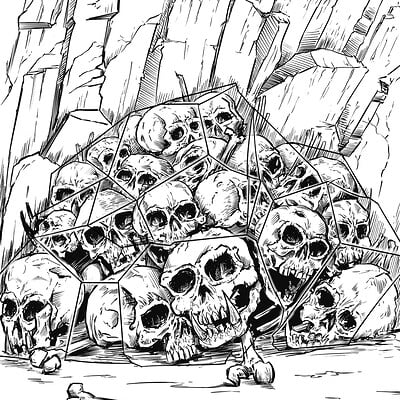 Matt james human and ogre skulls frozen b w inks