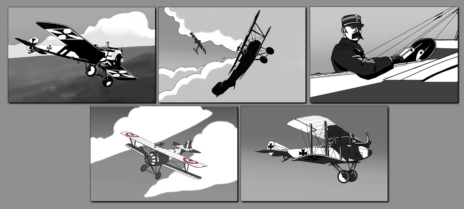 Black and white panel compositions.