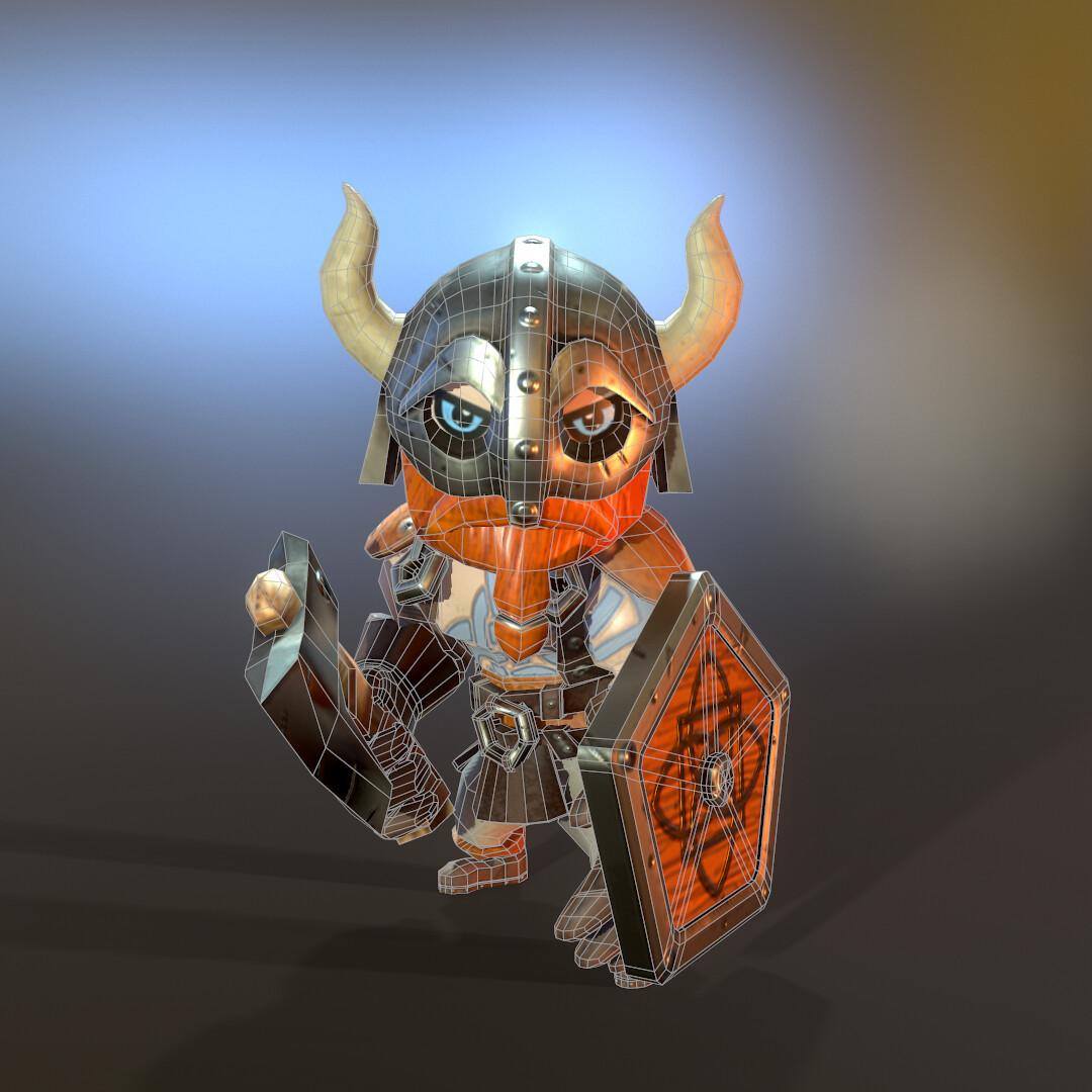 Stylized Lowpoly Viking hero front wireframe