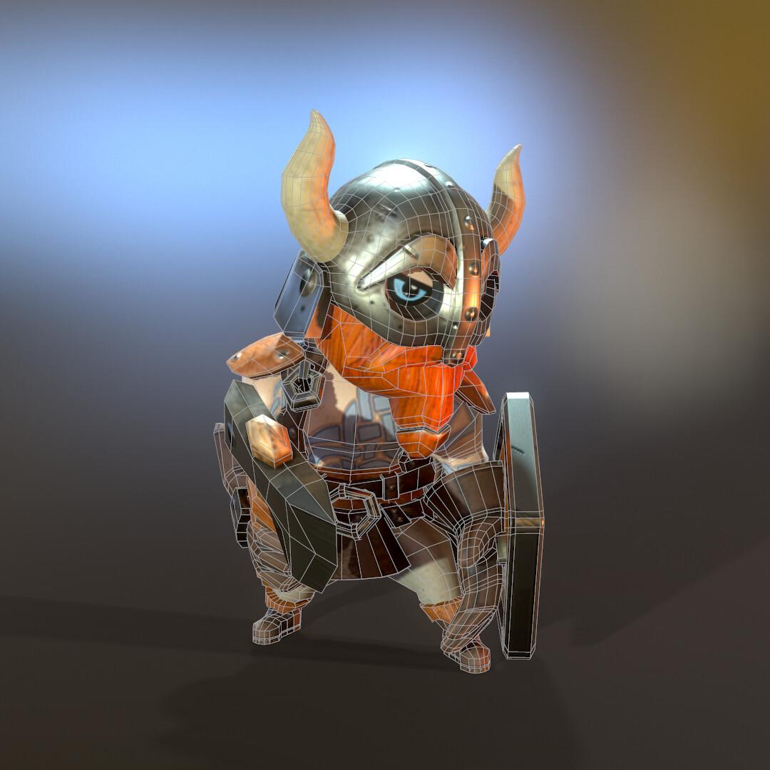 Stylized Lowpoly Viking hero side wireframe
