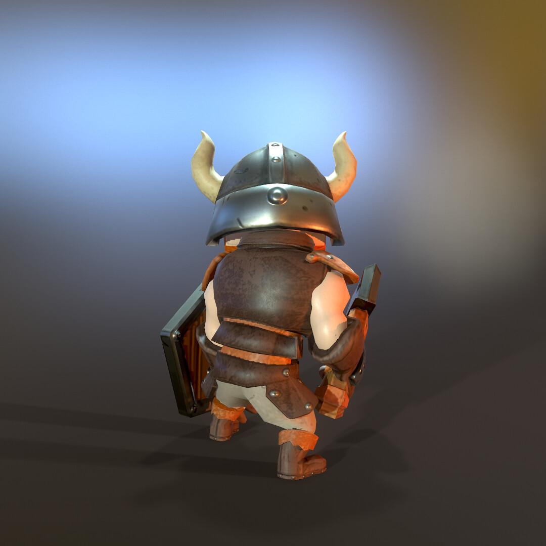 Stylized Lowpoly Viking hero back