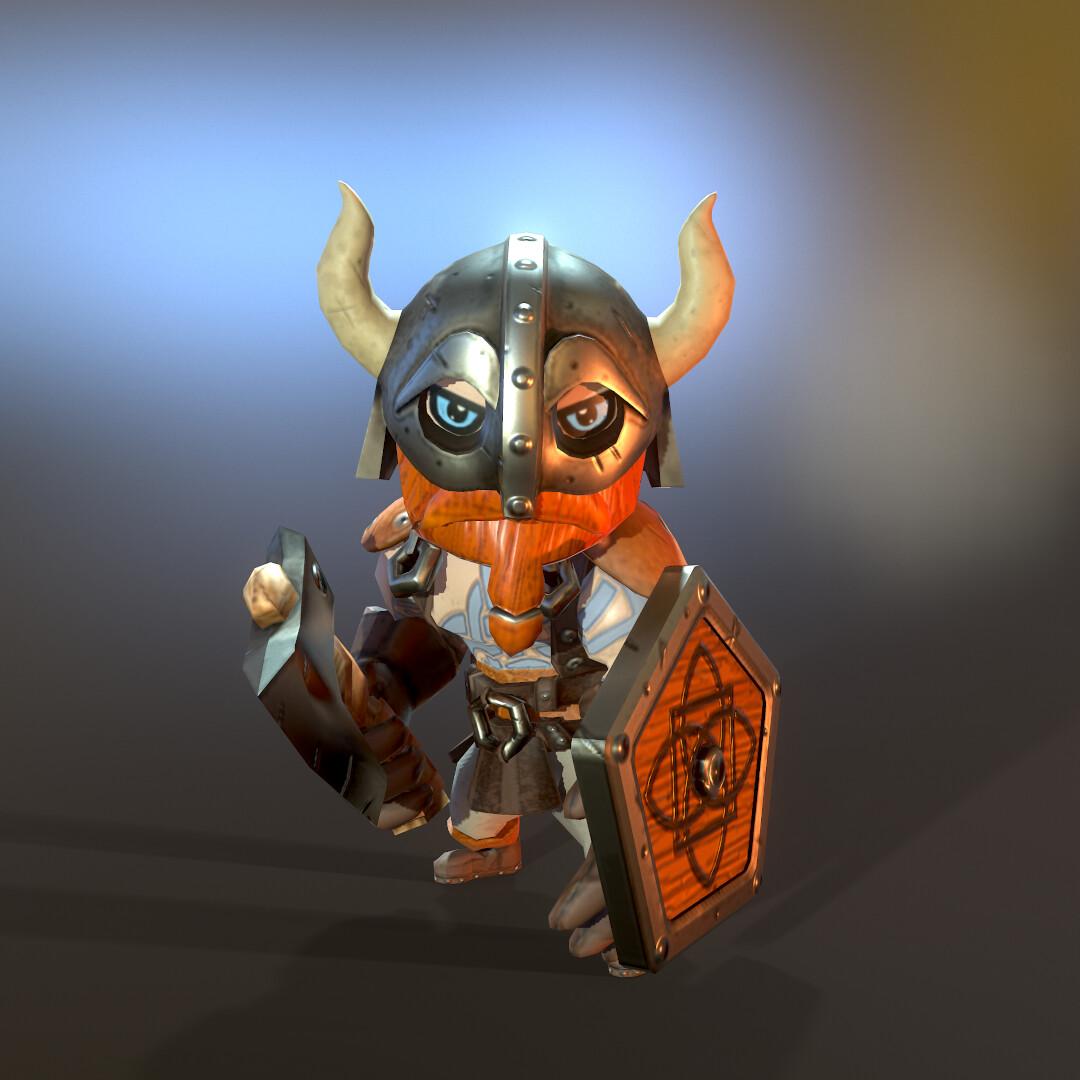 Stylized Lowpoly Viking hero front