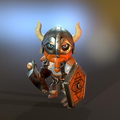 Adam idris lowpoly stylized viking hero front