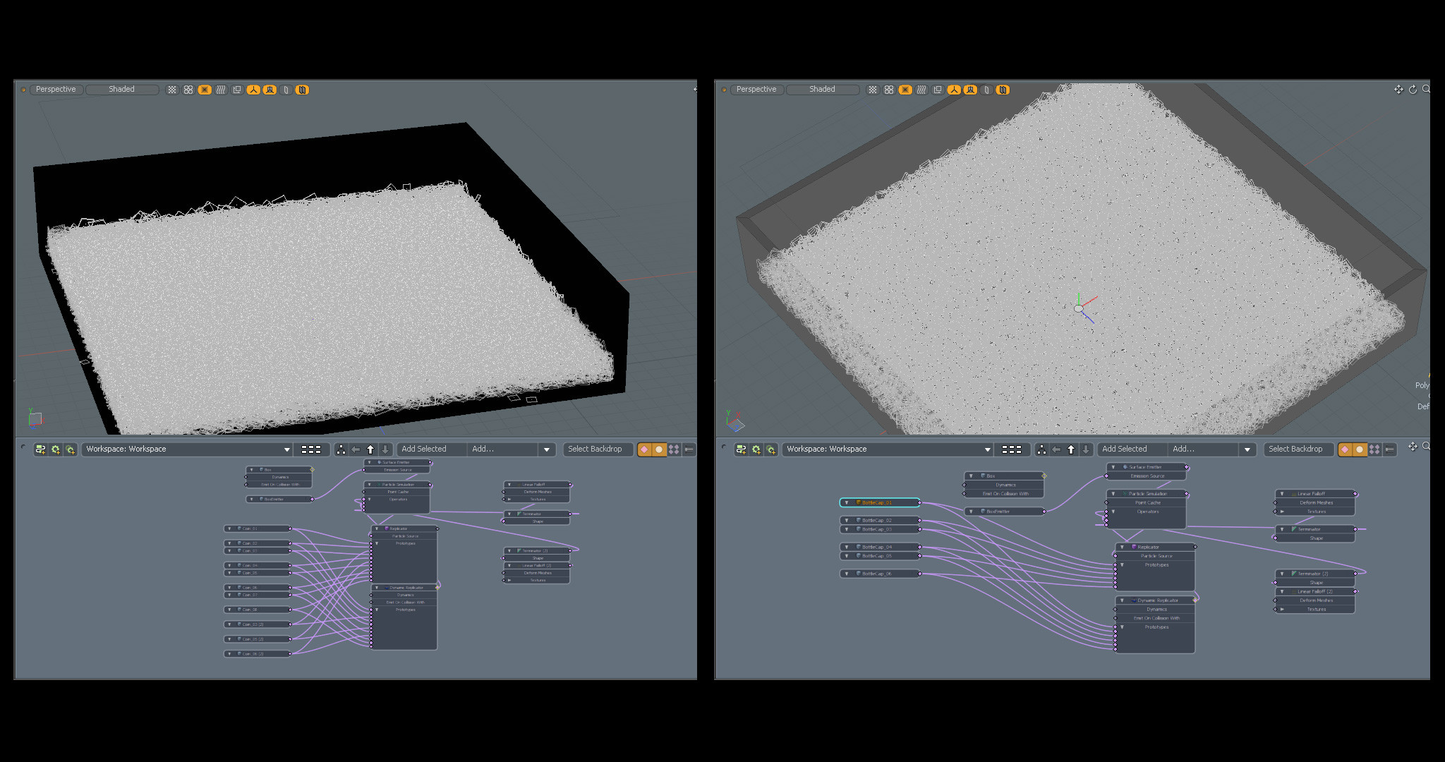 The simple particle setups in Modo.