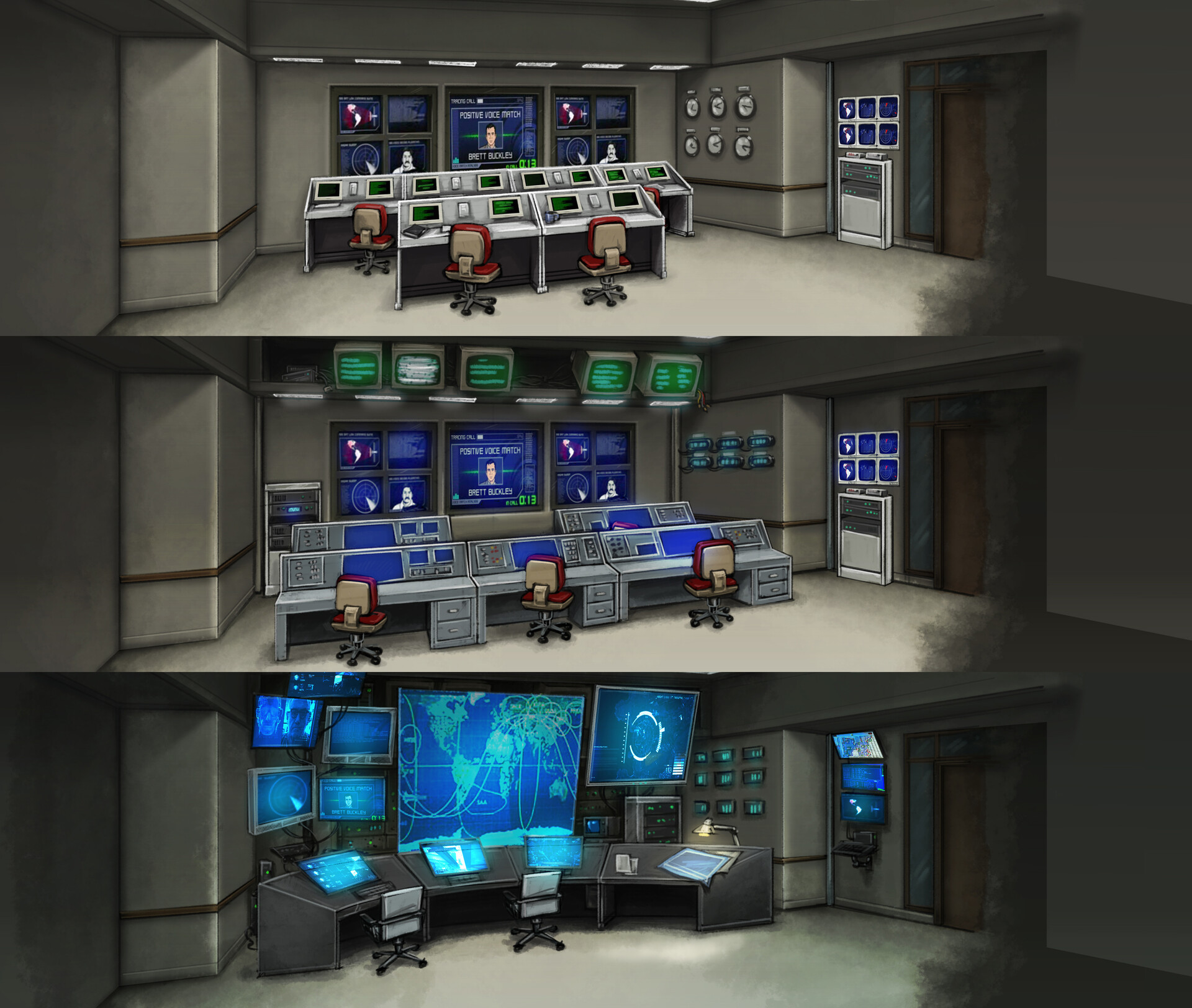 The Situation Room at various stages of upgrade.