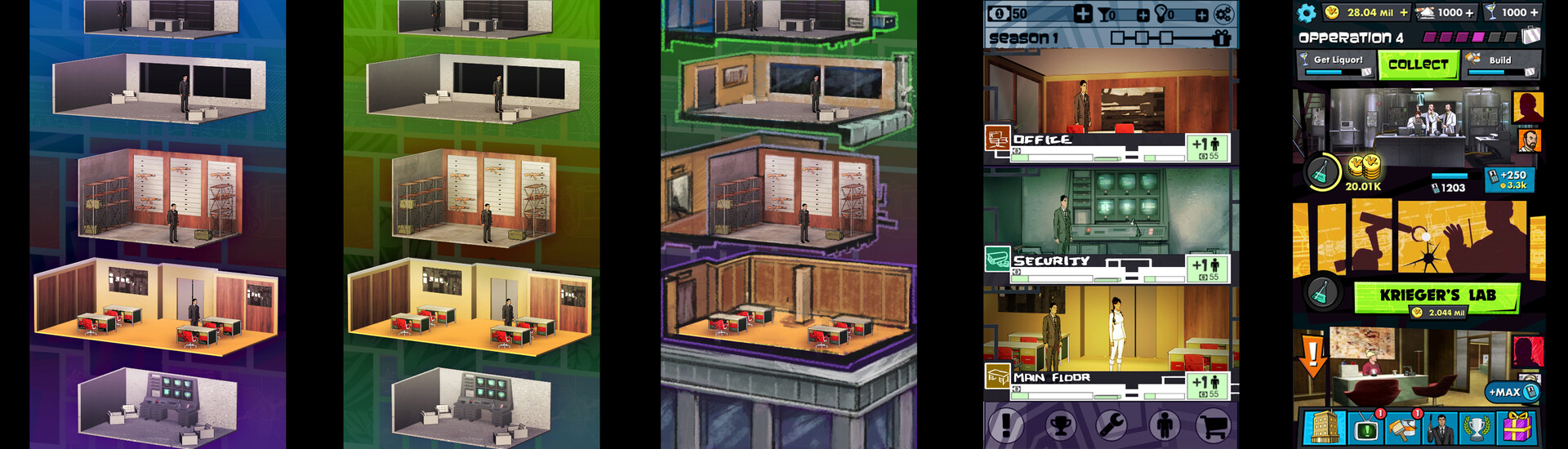 These are some very early mockups of Portrait versions of the game.  3D room elements were by Marc Apablaza.  UI elements by Kat Dolan.  Kludgey Photoshop nonsense by me.