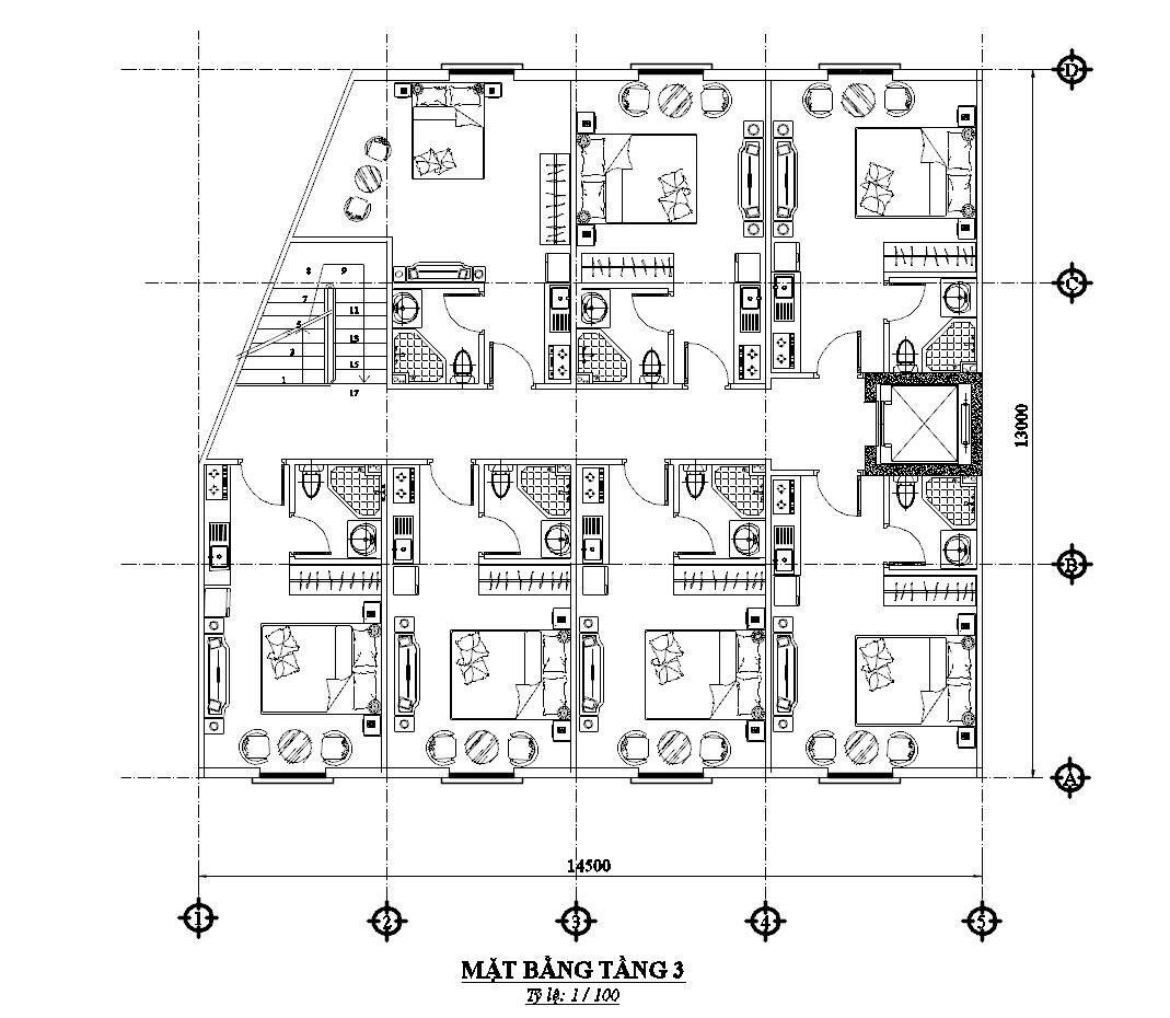 Thiết kế nhà nghỉ 4 tầng. Ảnh 5