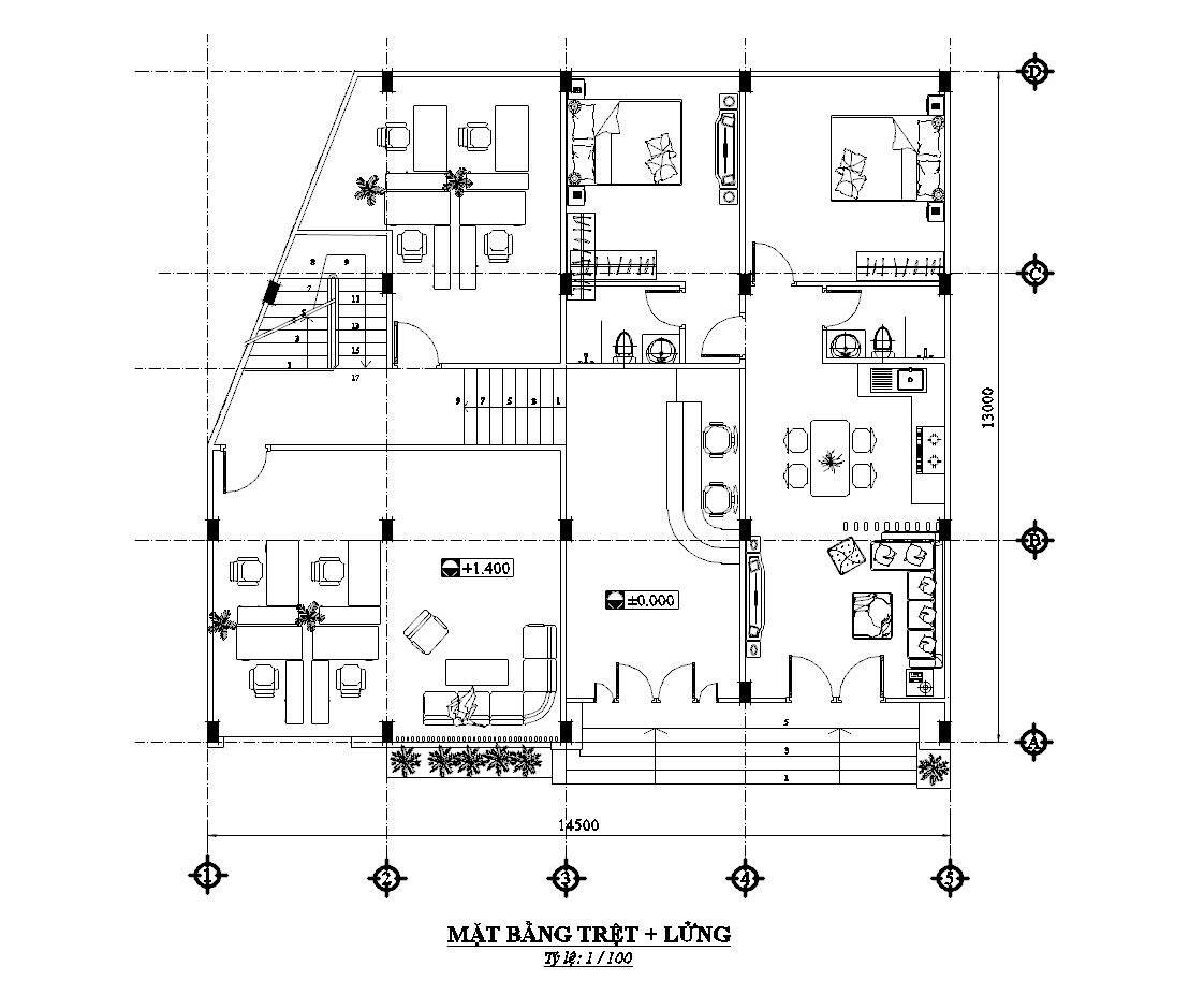 Thiết kế nhà nghỉ 4 tầng. Ảnh 7