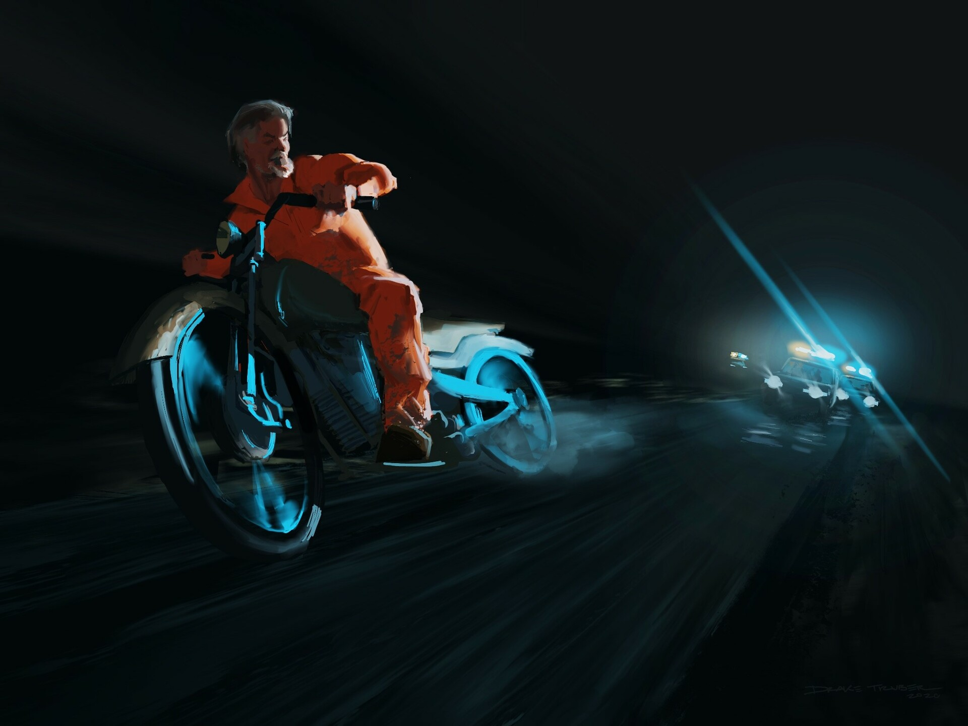 Police chase concept illustration for a film.