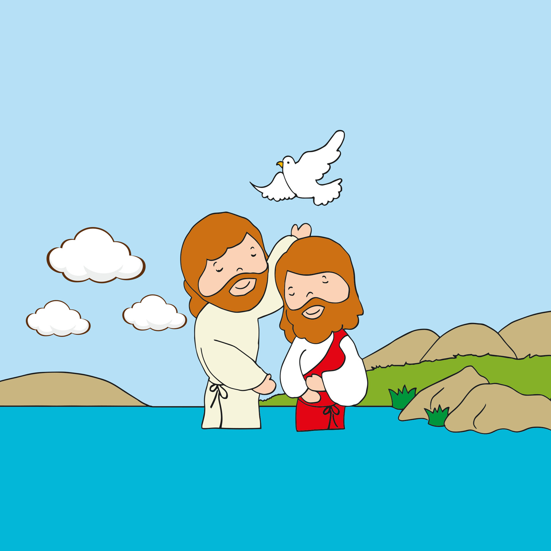 Image result for cartoon pictures of jesus baptism