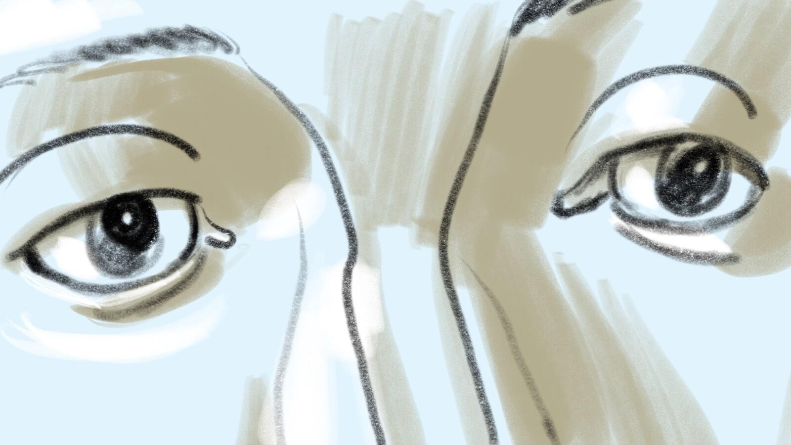 FRAME #10-ECU-Med-Floating: Coverage shot: ECU on Nick's eyes.