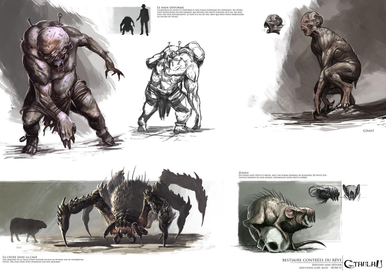 deformed dwarf , giant spider, Ghast, zoogs