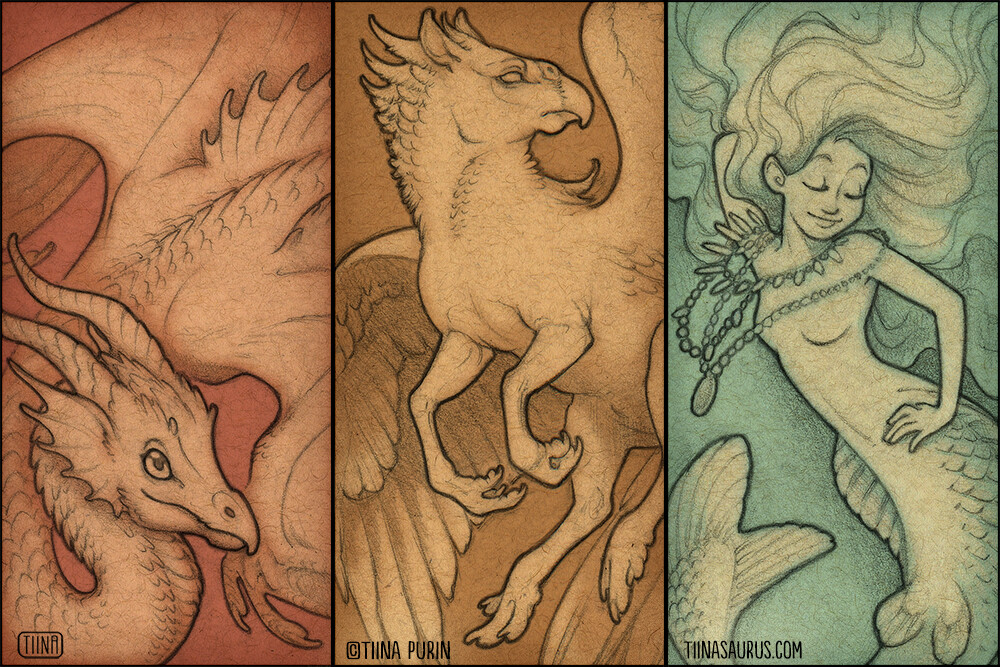 A series of illustrations for glass domino pendants featuring a Wyvern, Hippogryph, and Siren.