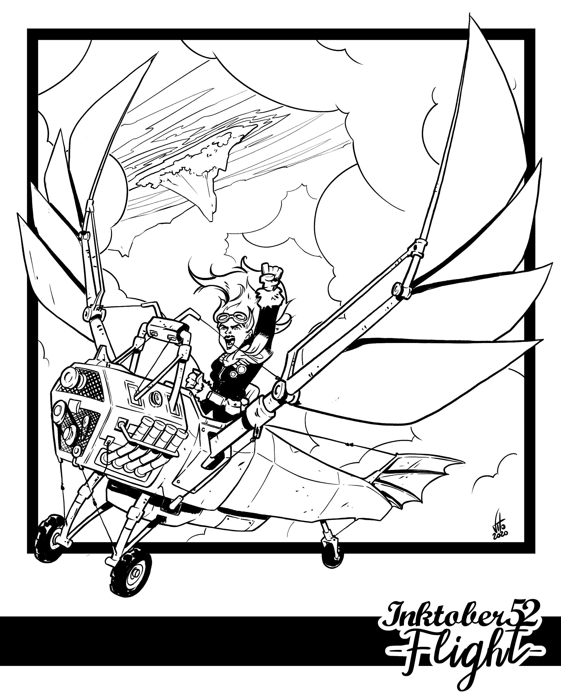 Inktober 52 Week 1: Flight - Digital Inking