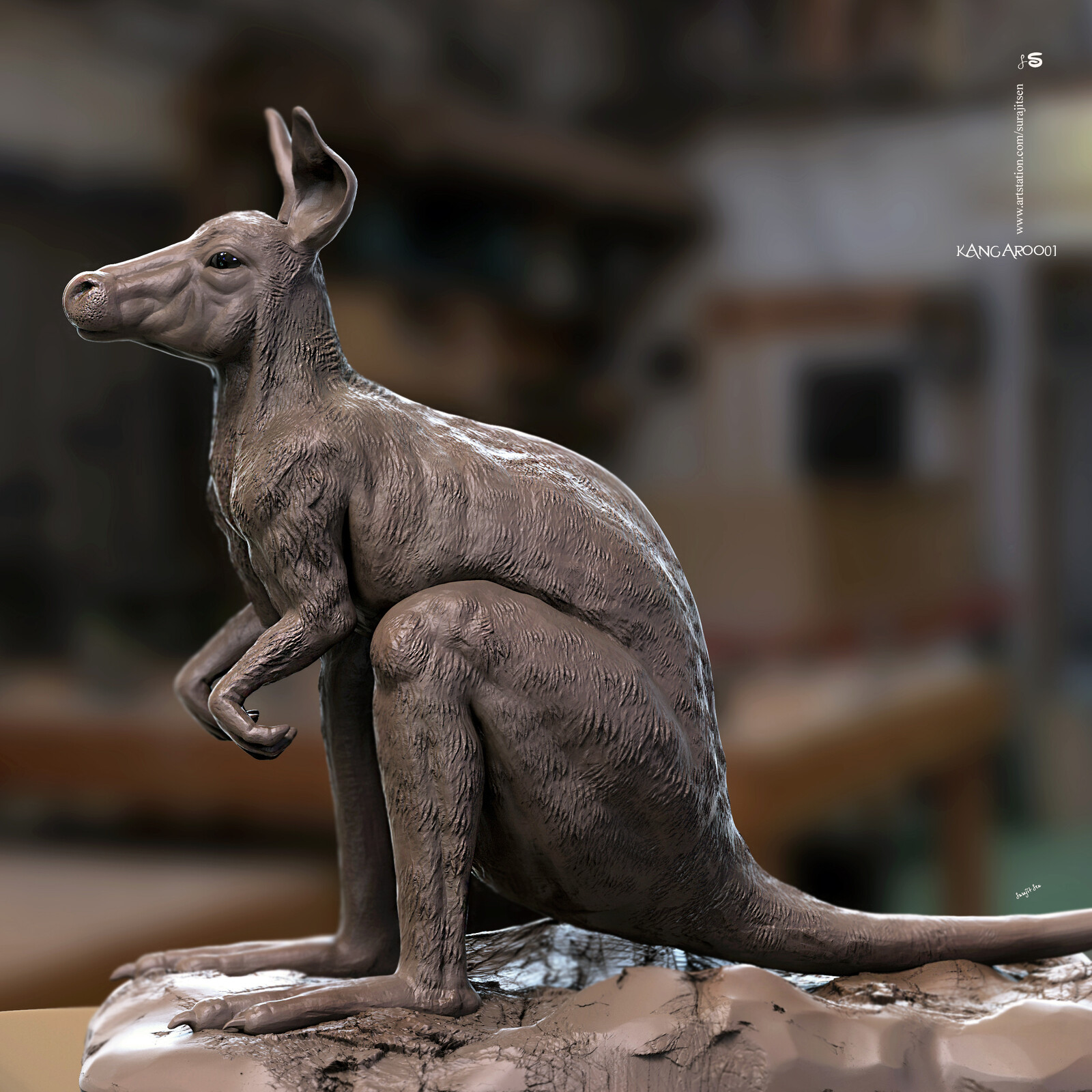 Today found one of my old Sculpting study works....Kangaroo01 Fixed some issues...resculpting and wish to share a snap. Hope you like it....😊