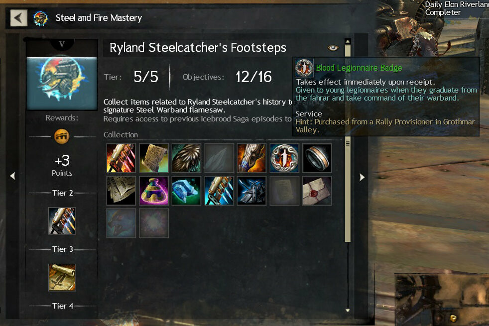 Screenshot of the collection in Guild Wars 2