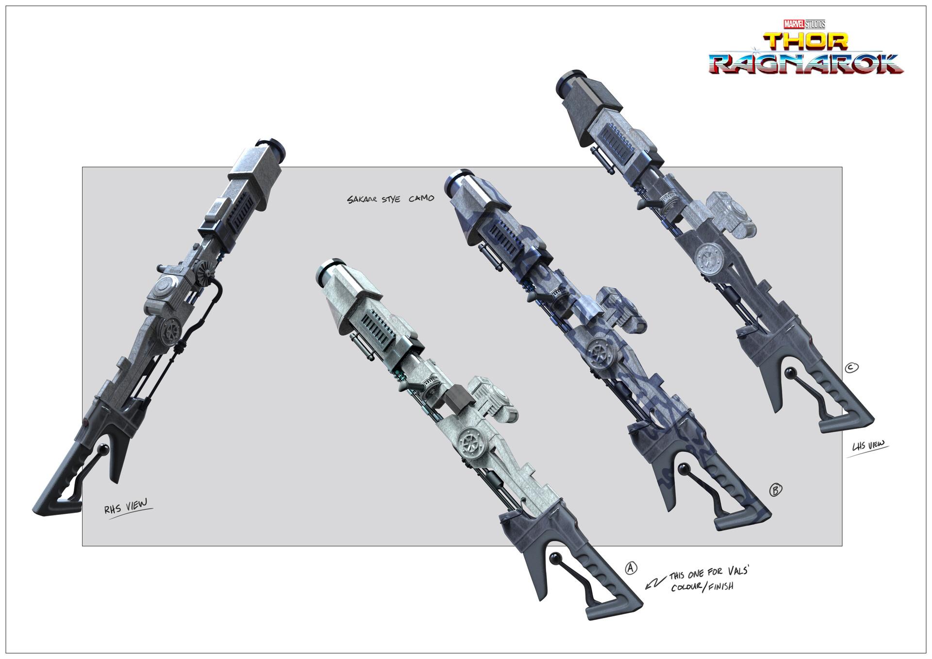 Sakaarian rifle - based off of Jack Kirby space station illustration.