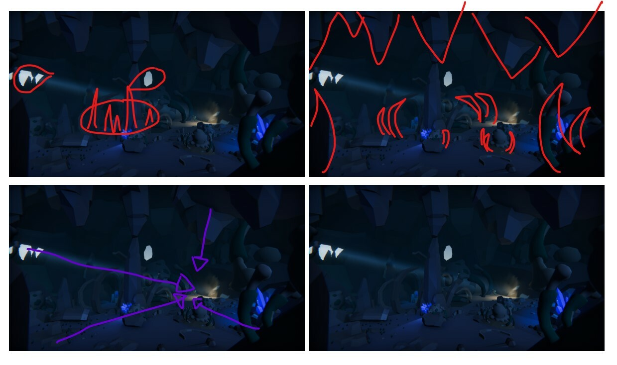 An internal breakdown of the subtle suggestive forms and direction in the cave's composition. Since it would only be in cinematics I had a lot of control over framing and communicating through the design and layout.