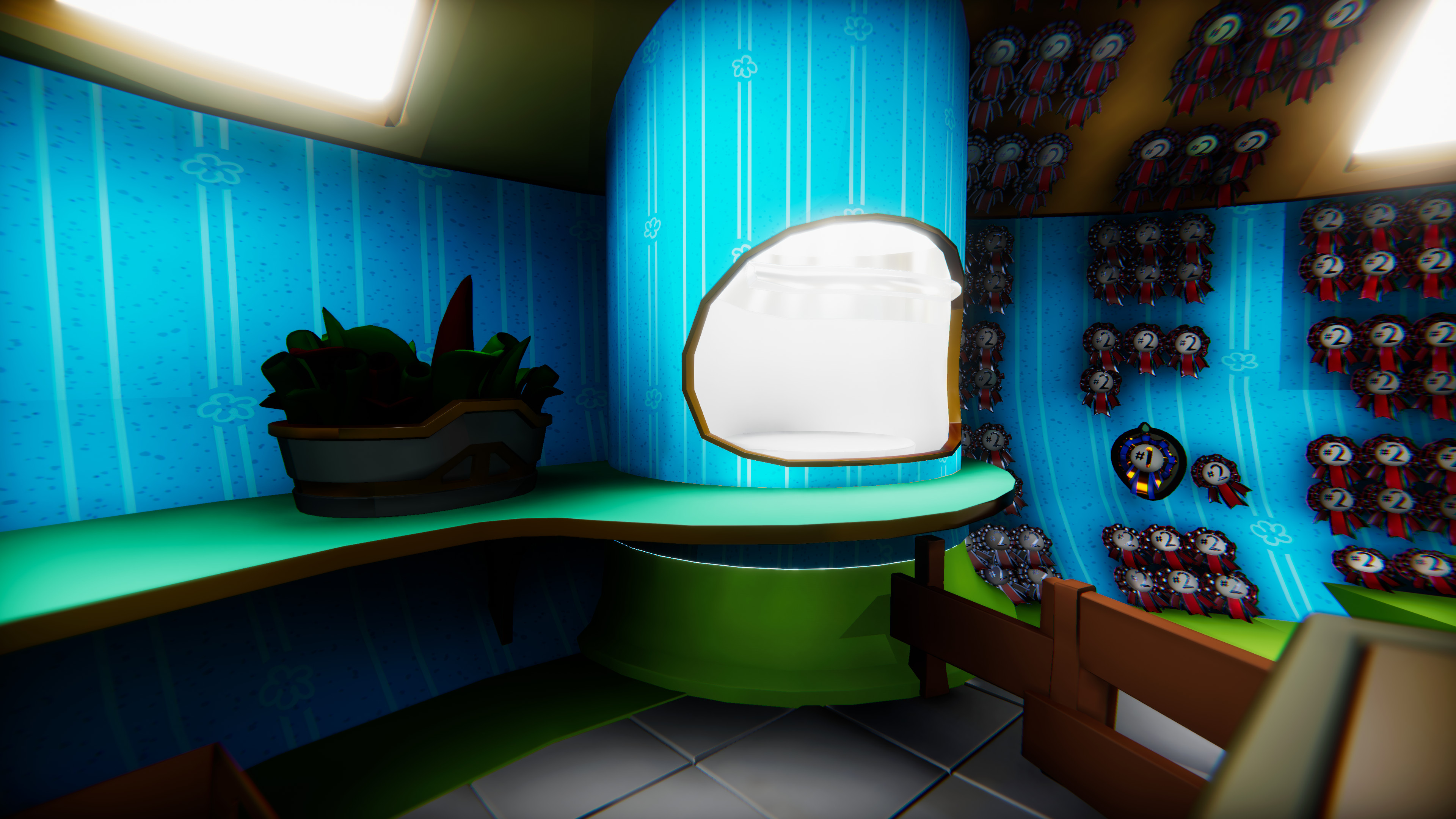 Despite only being used a handful of times, I designed and placed the teleporter like a microwave. A piece of technology that is very powerful, but also just a regular part of every day life to the characters in the game.