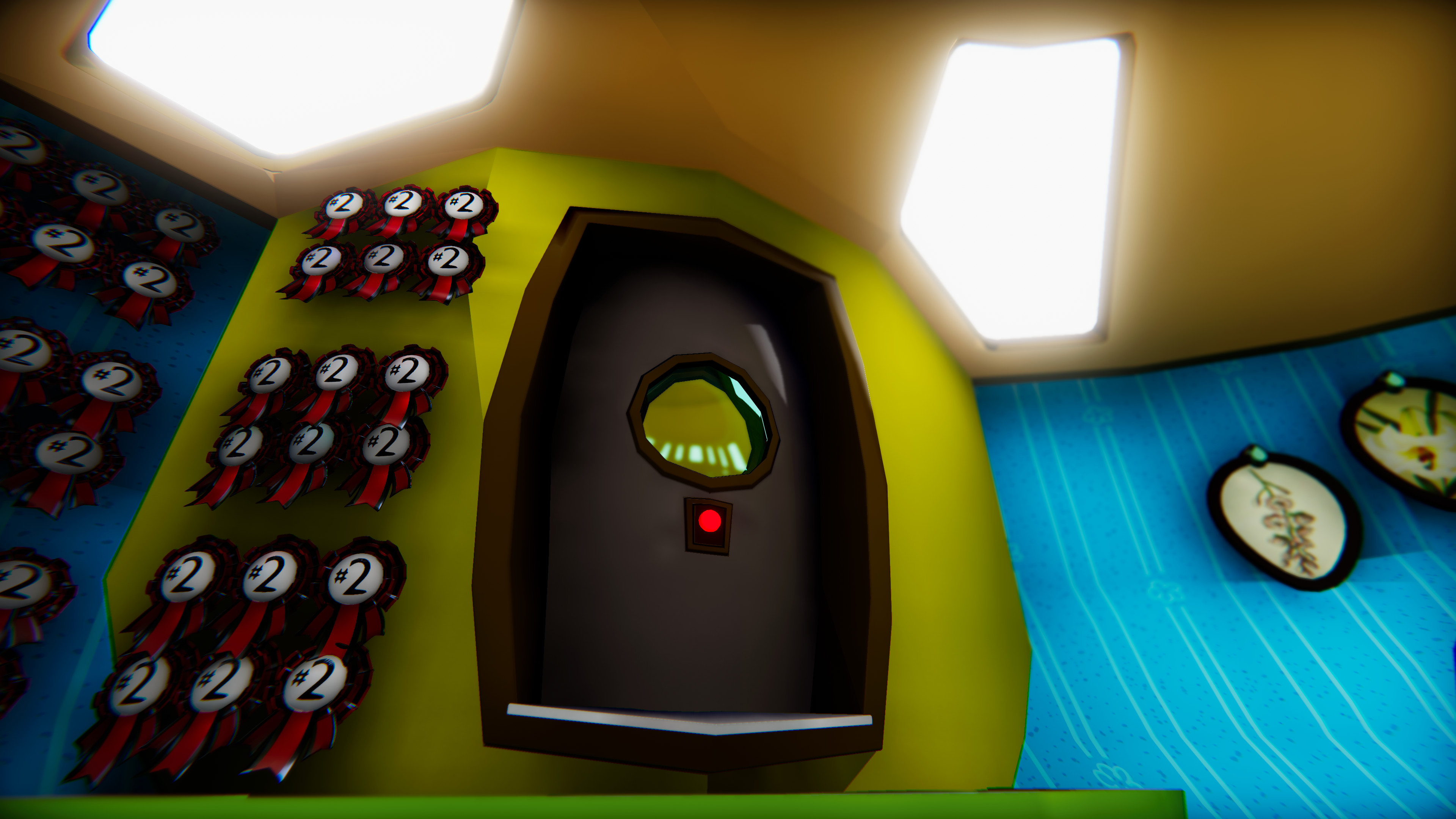 Though the airlock is rarely shown, I designed it with daily use in mind. It functions as the main entryway, by looking like the natural exit it creates a flow to the environment, and makes the room more relatable to players.