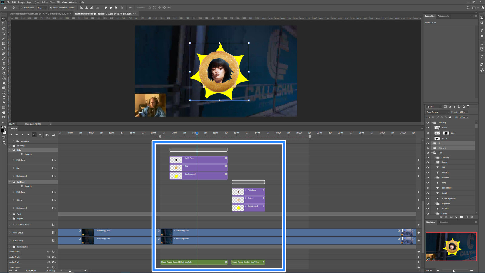"""The """"Faith Crackers"""" visual effect within Photoshop video editor"""