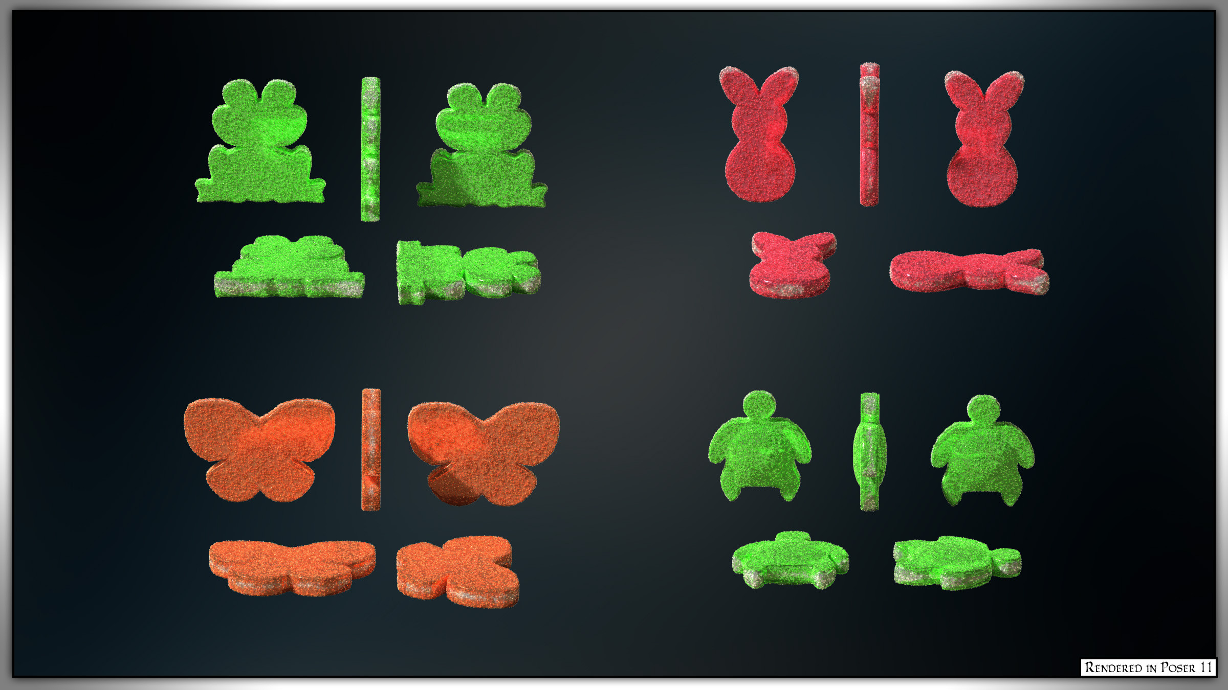 A rotation of each of the candies and colors.