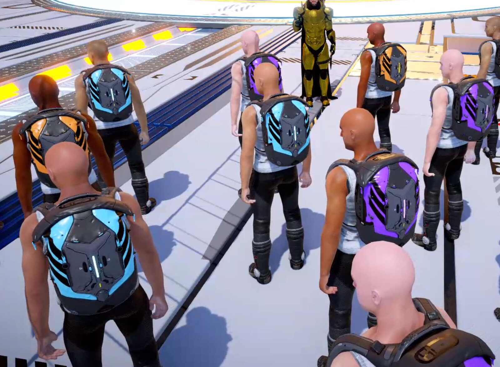 Early development screenshot of Titans wearing the HeliosBag.