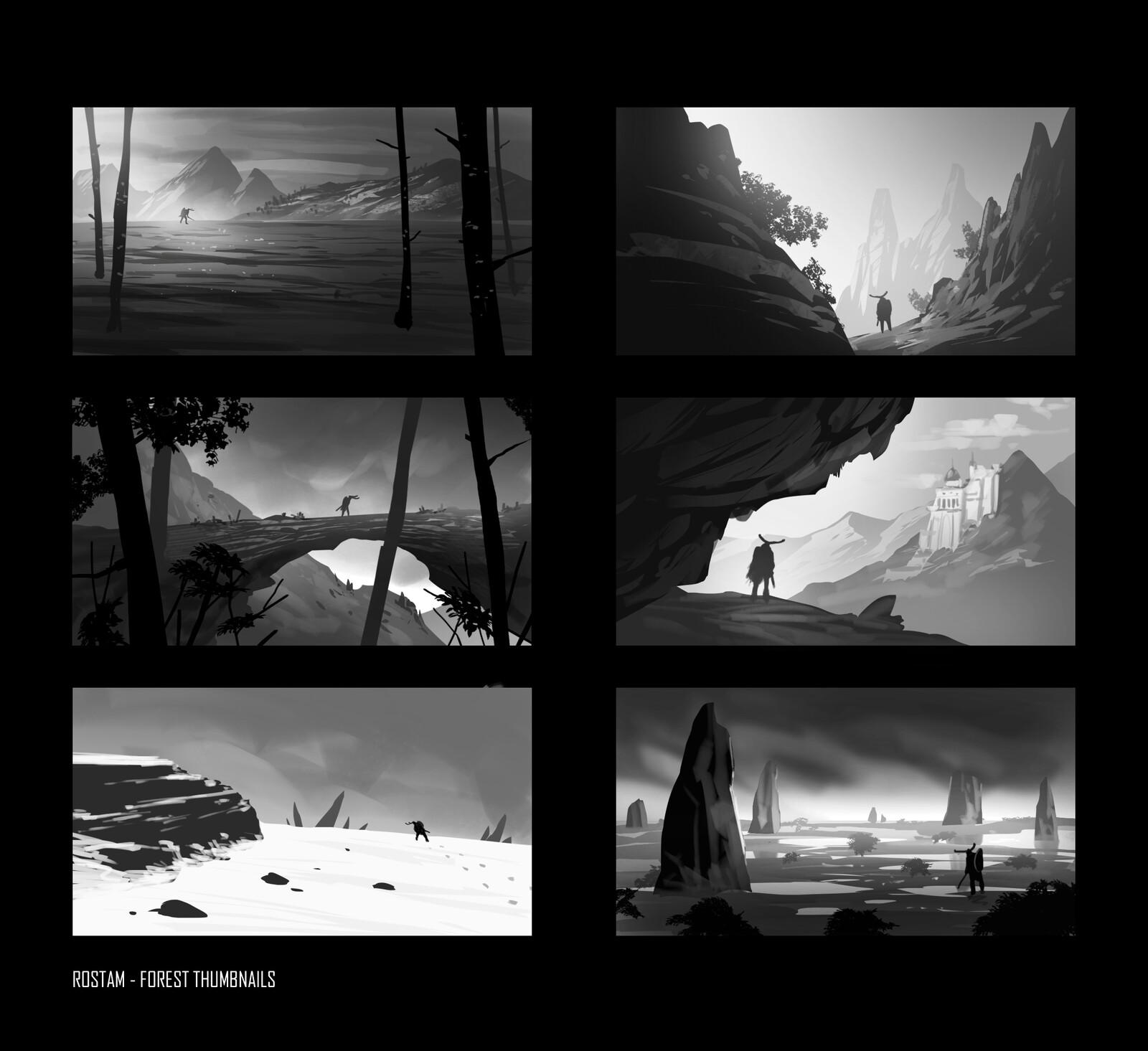 "Thumbnails for ""Rostam: Warrior of the Light"" Environment Concept"