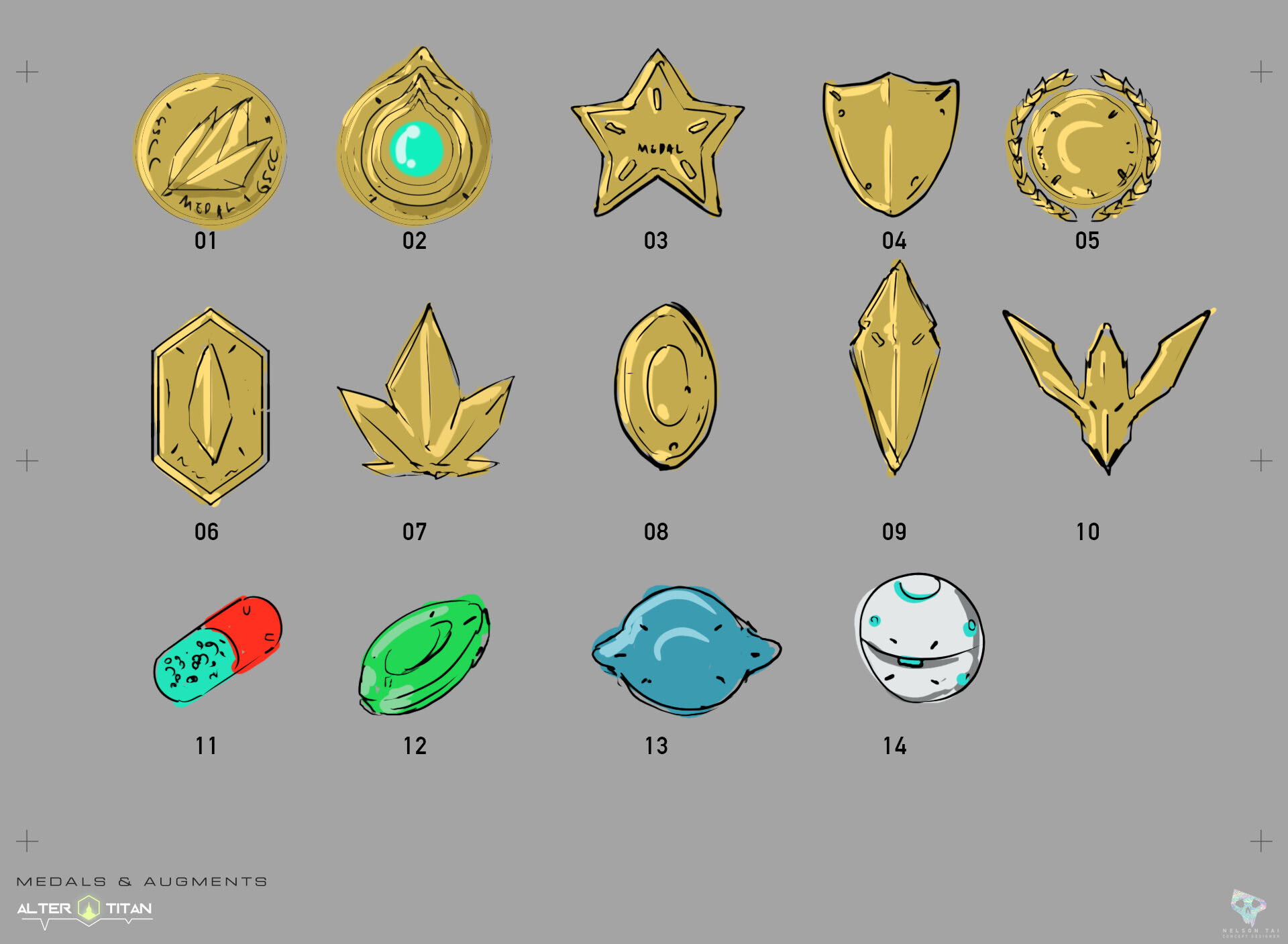 Sketch ideas for the game's resource items.