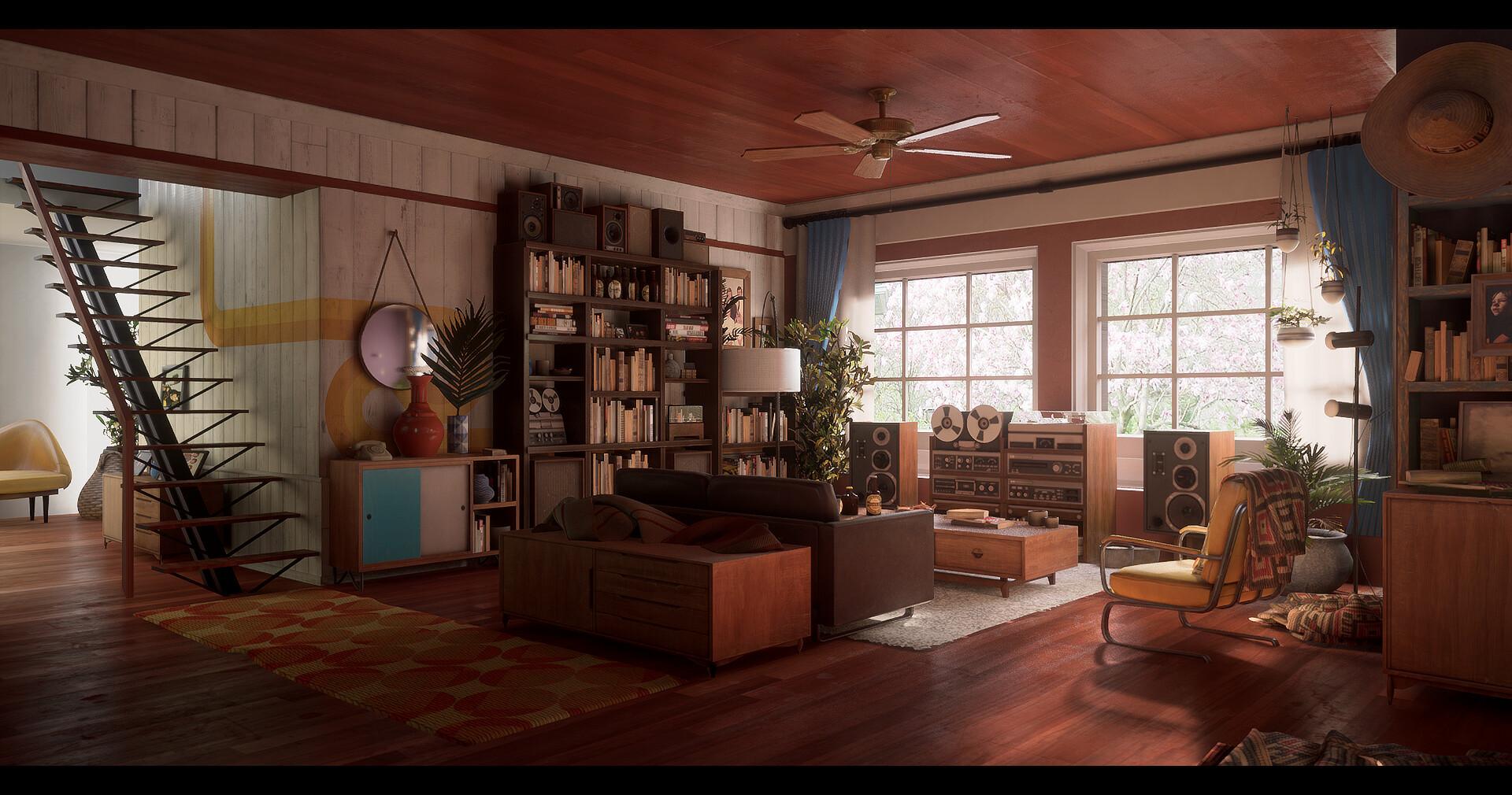 Artstation 70 S Living Room Gaethan Bercet