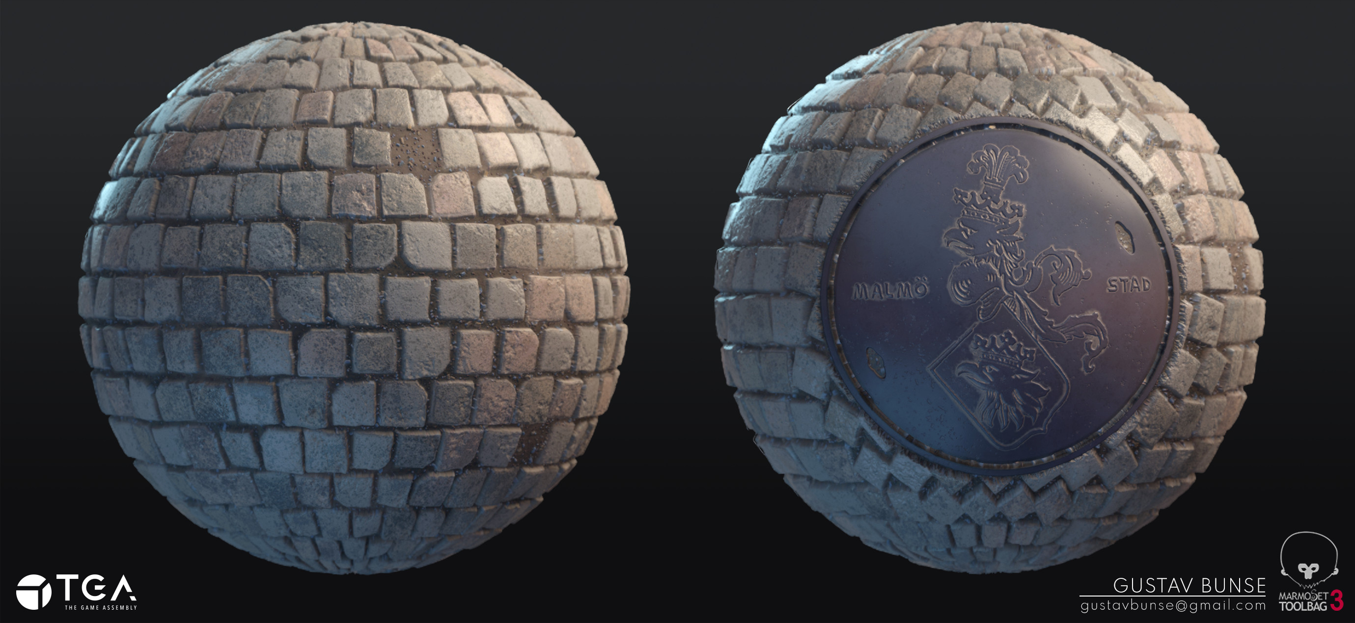 These two materials are created from the same node-system in Substance Designer. It's one exported material with an exposed parameter, with which you can turn on and off the manhole. This make it easy to vertex paint the manhole onto your cobblestone.