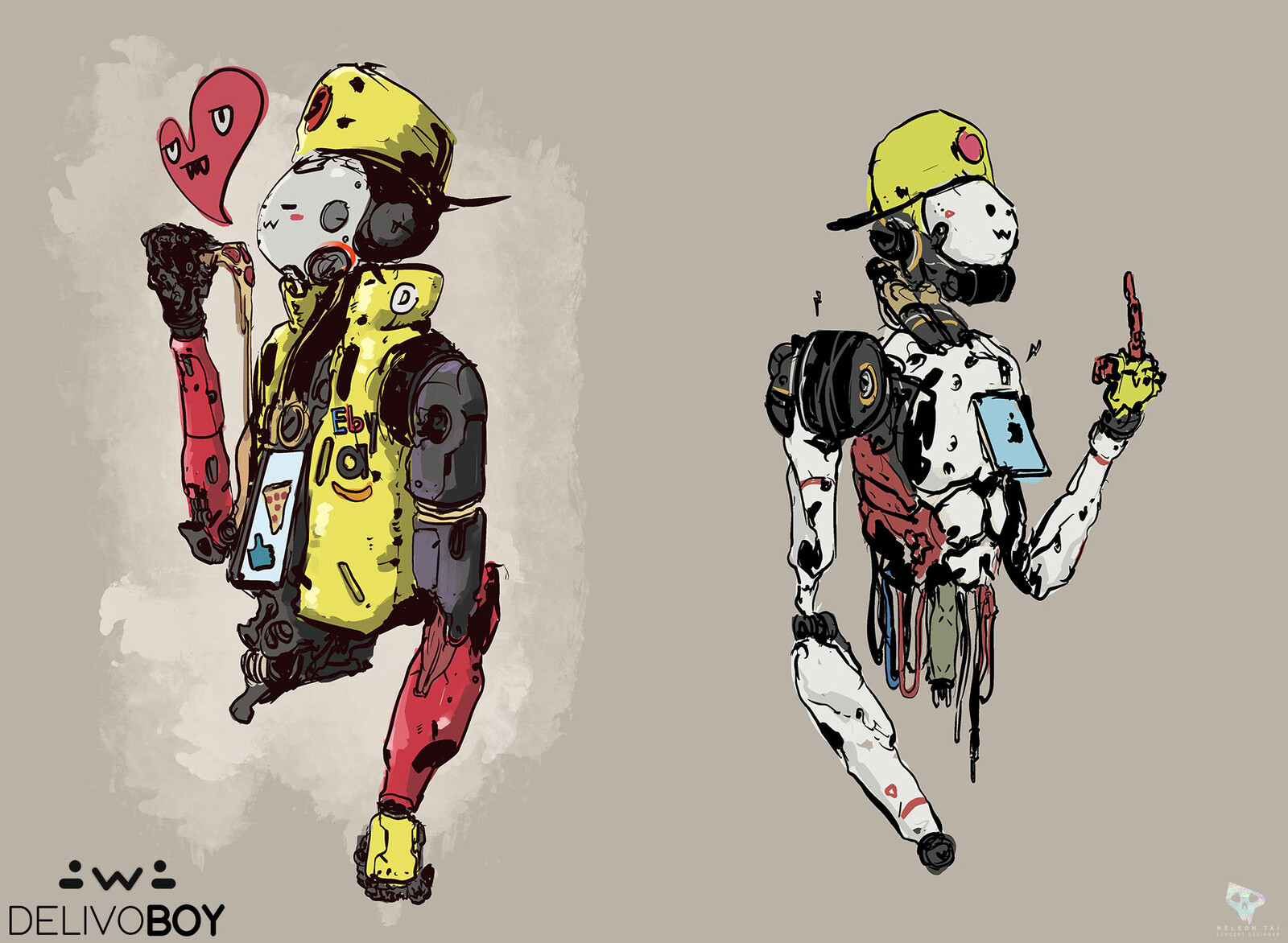 Some more fun DelivoBoy sketches for March of Robots.