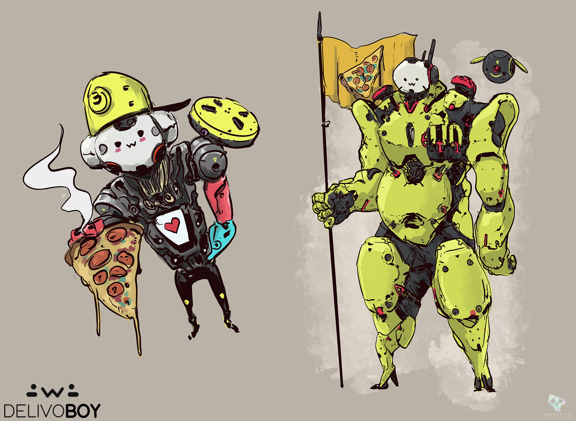DelivoBoy loves pizza! He dreams to deliver to space as well!