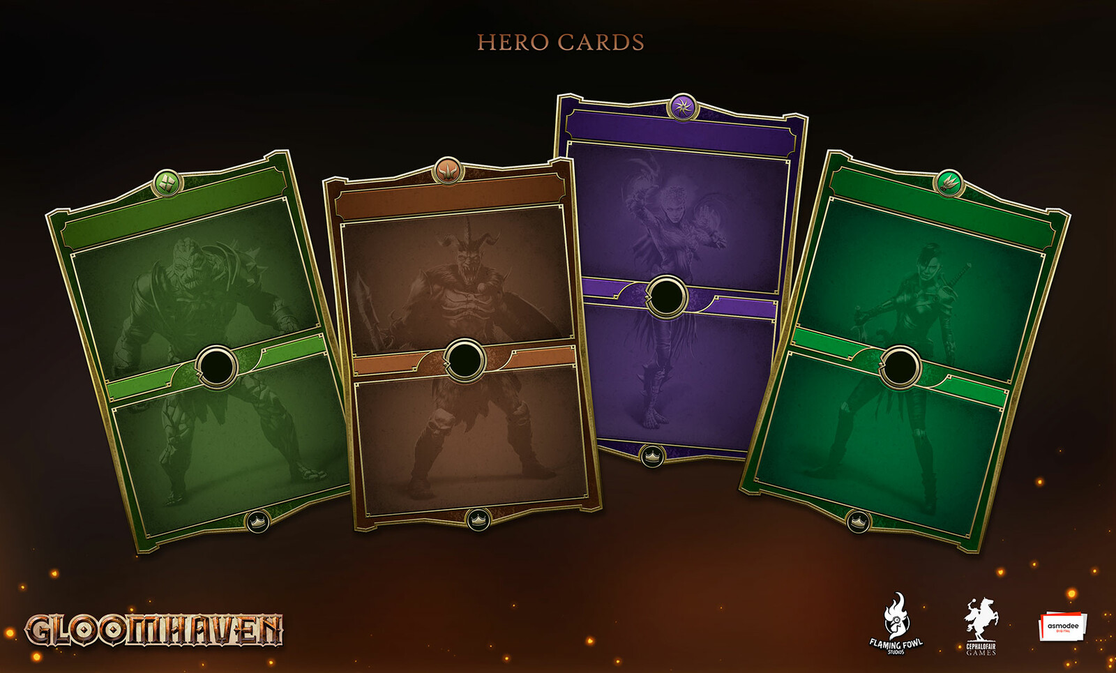 Each Character has a different colour card theme.