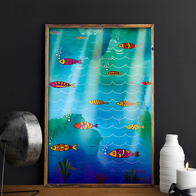 Rajesh r sawant fish pattern framed