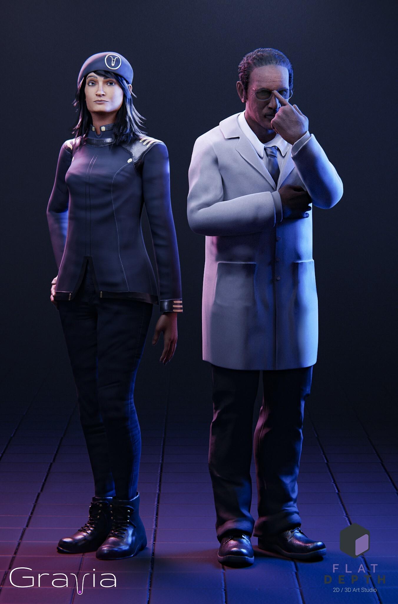 Commander Afsane Flynn and Dr. James Alviston