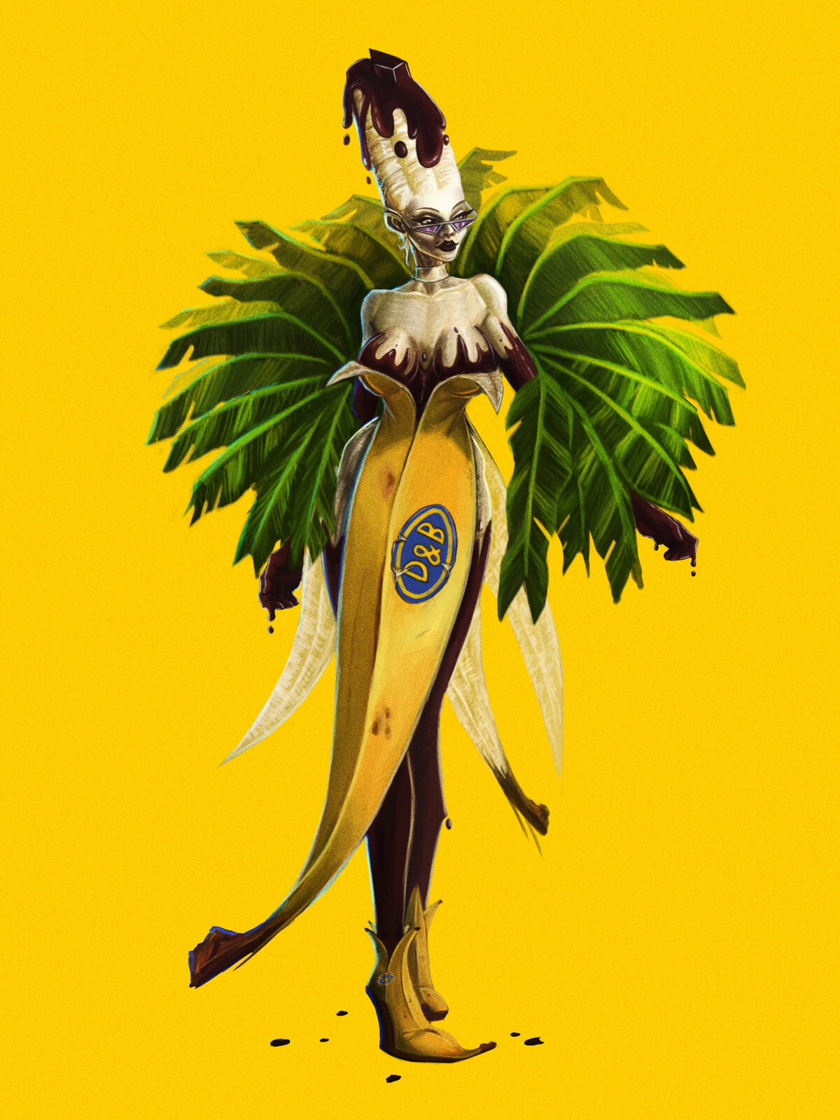 """Banana girl with choccolate """