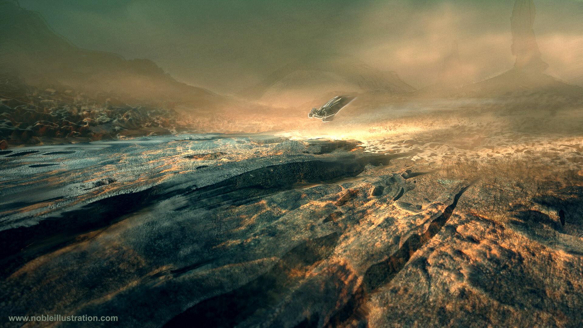 Barren landscape with Ship
