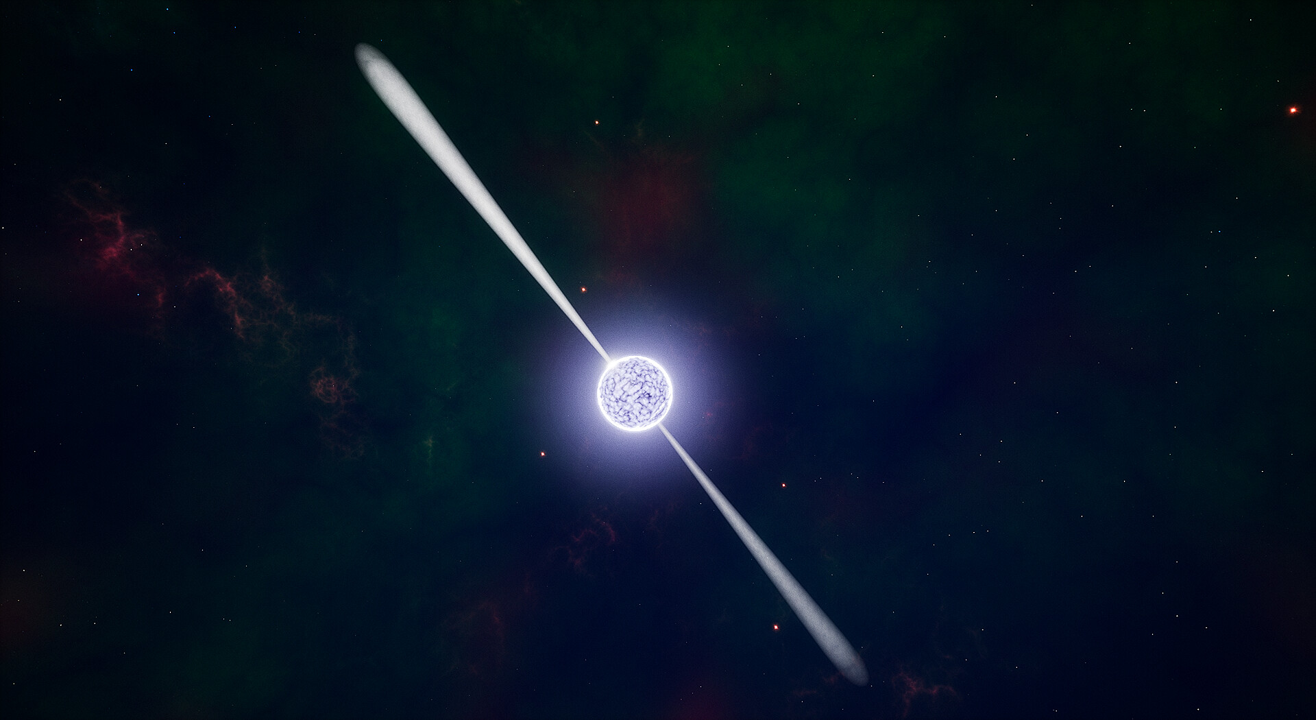My artistic interpretation of the Spinning Neutron Star. If they spin towards Earth, they are called Pulsars. The highest registered speed is 716 times per second, called PSR J1748-2446ad.