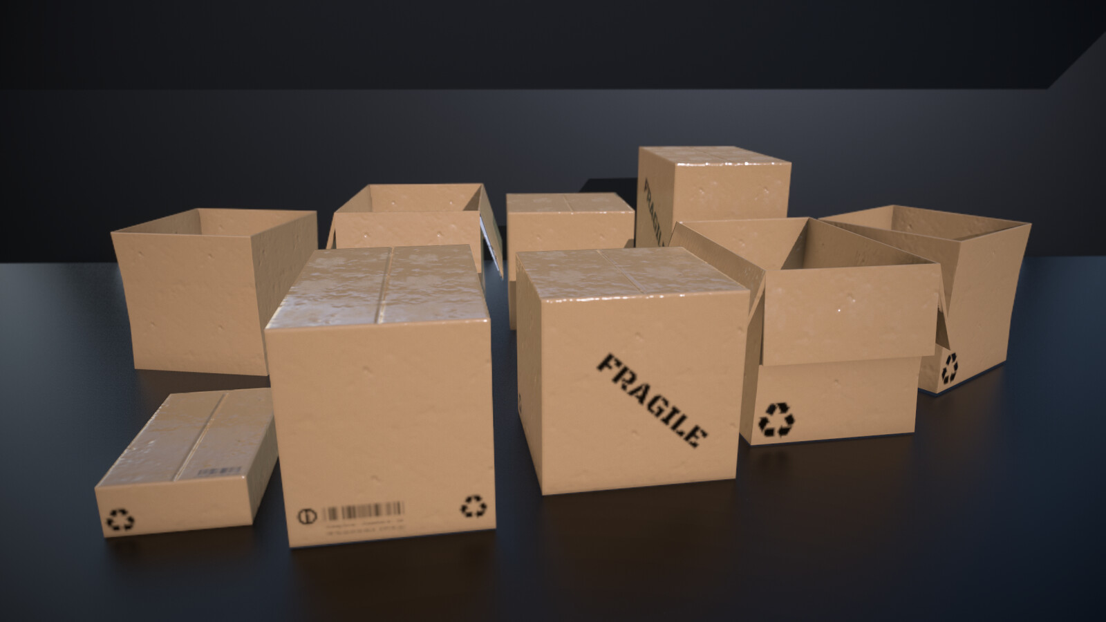 Cardboard boxes - five different props