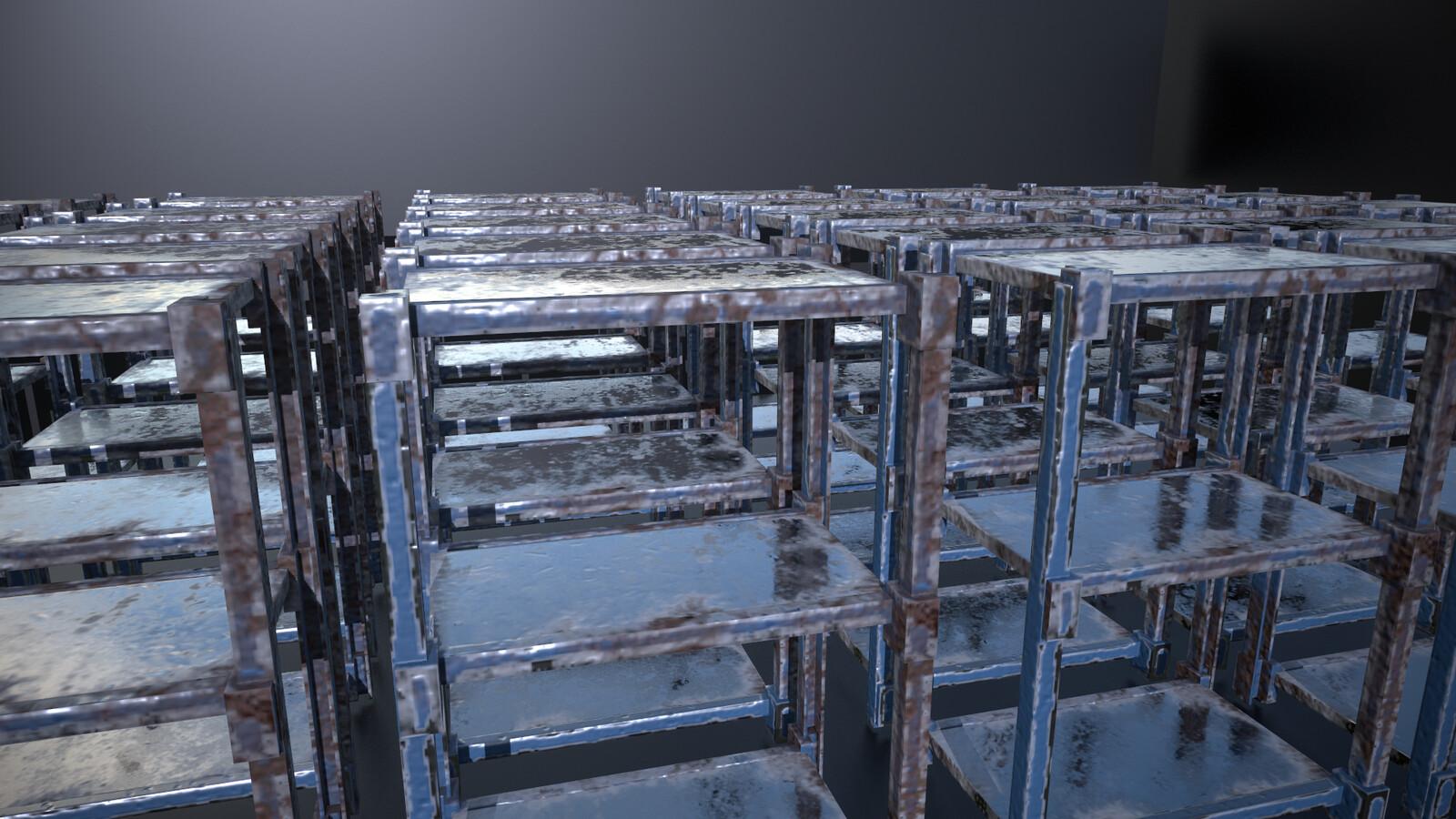 Metallic shelving