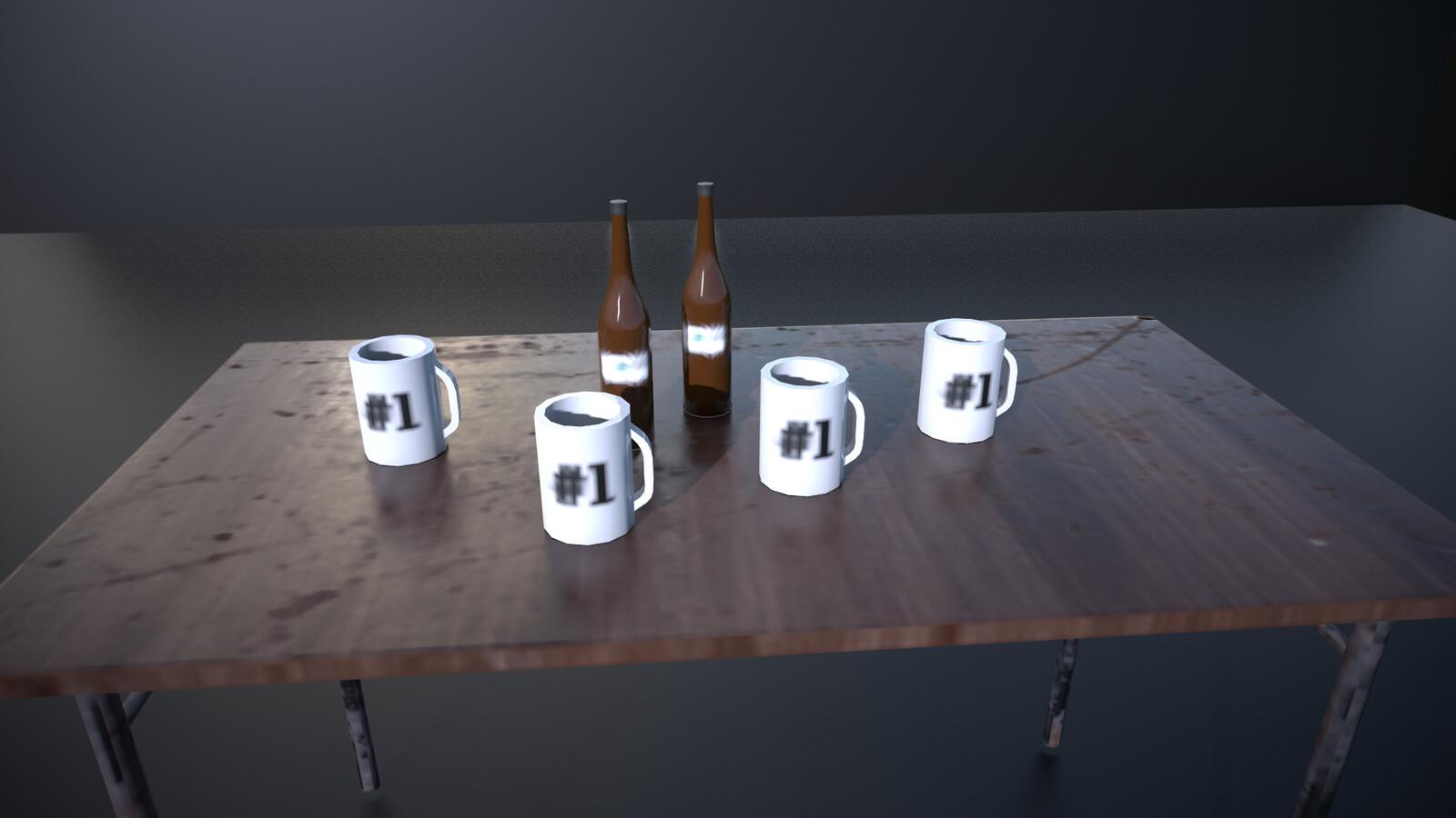 Mug and bottle