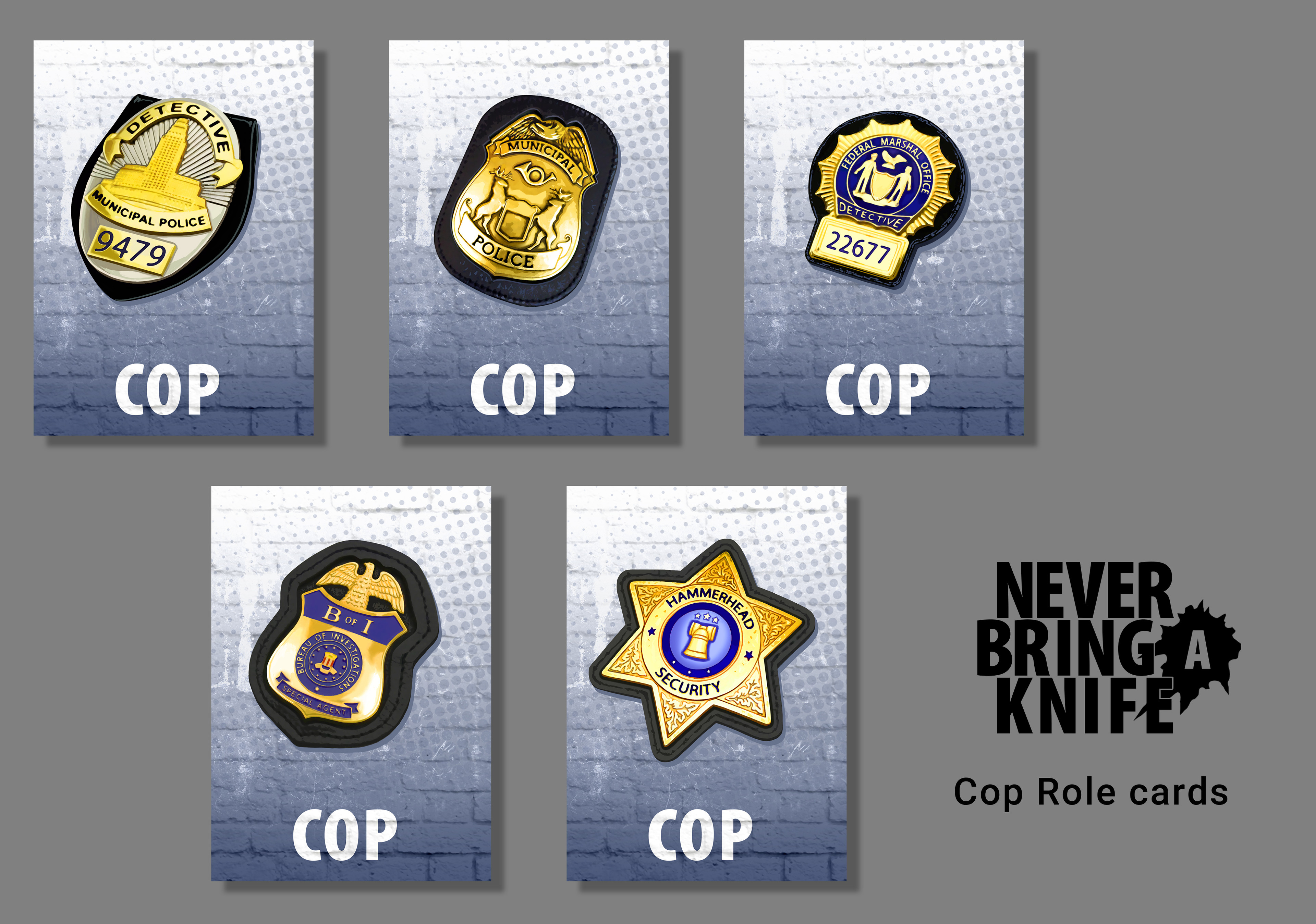 Cop Role cards for the Never Bring a Knife card game from Atlas Games.