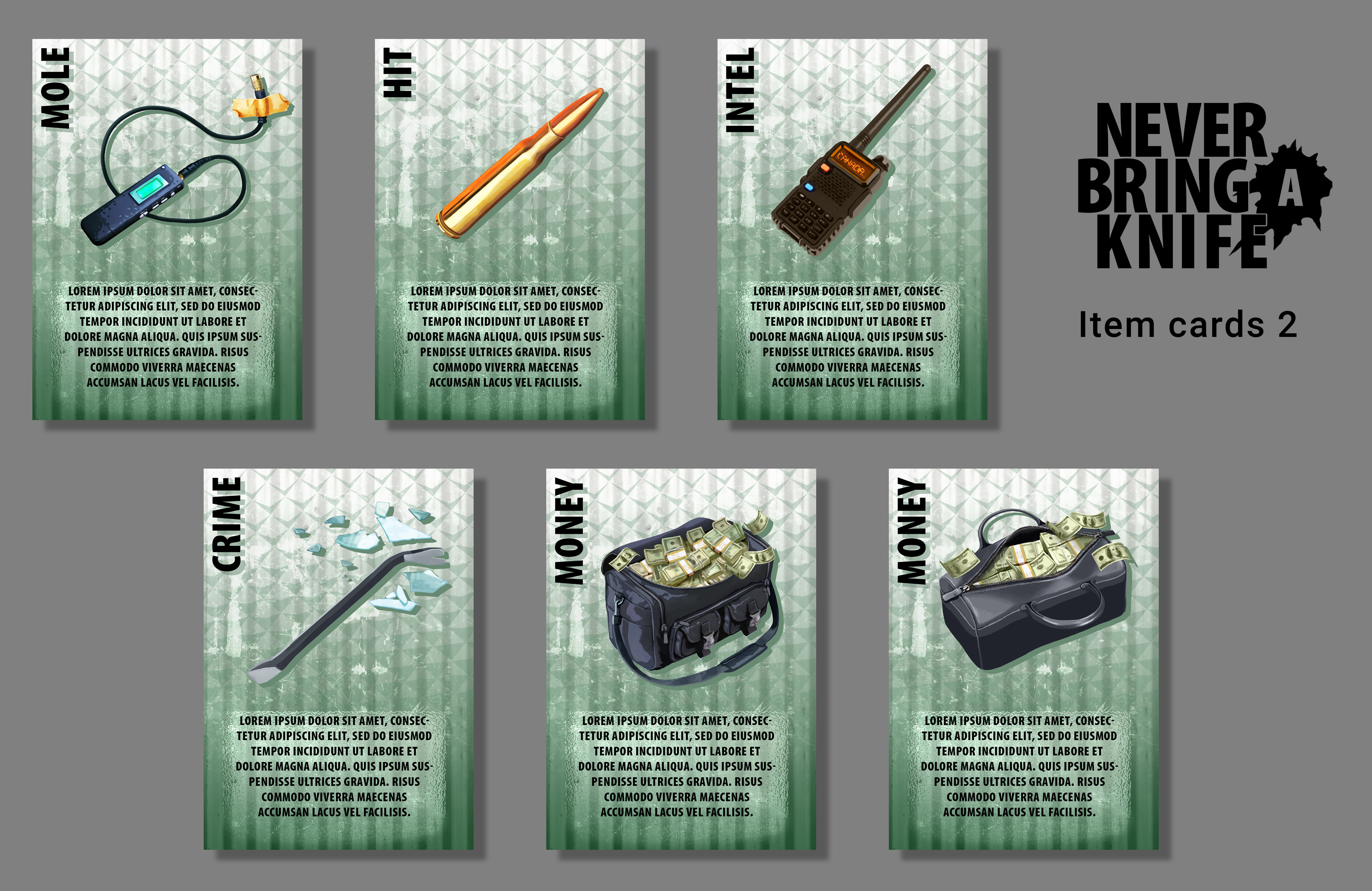 More item cards for the Never Bring a Knife card game from Atlas Games.