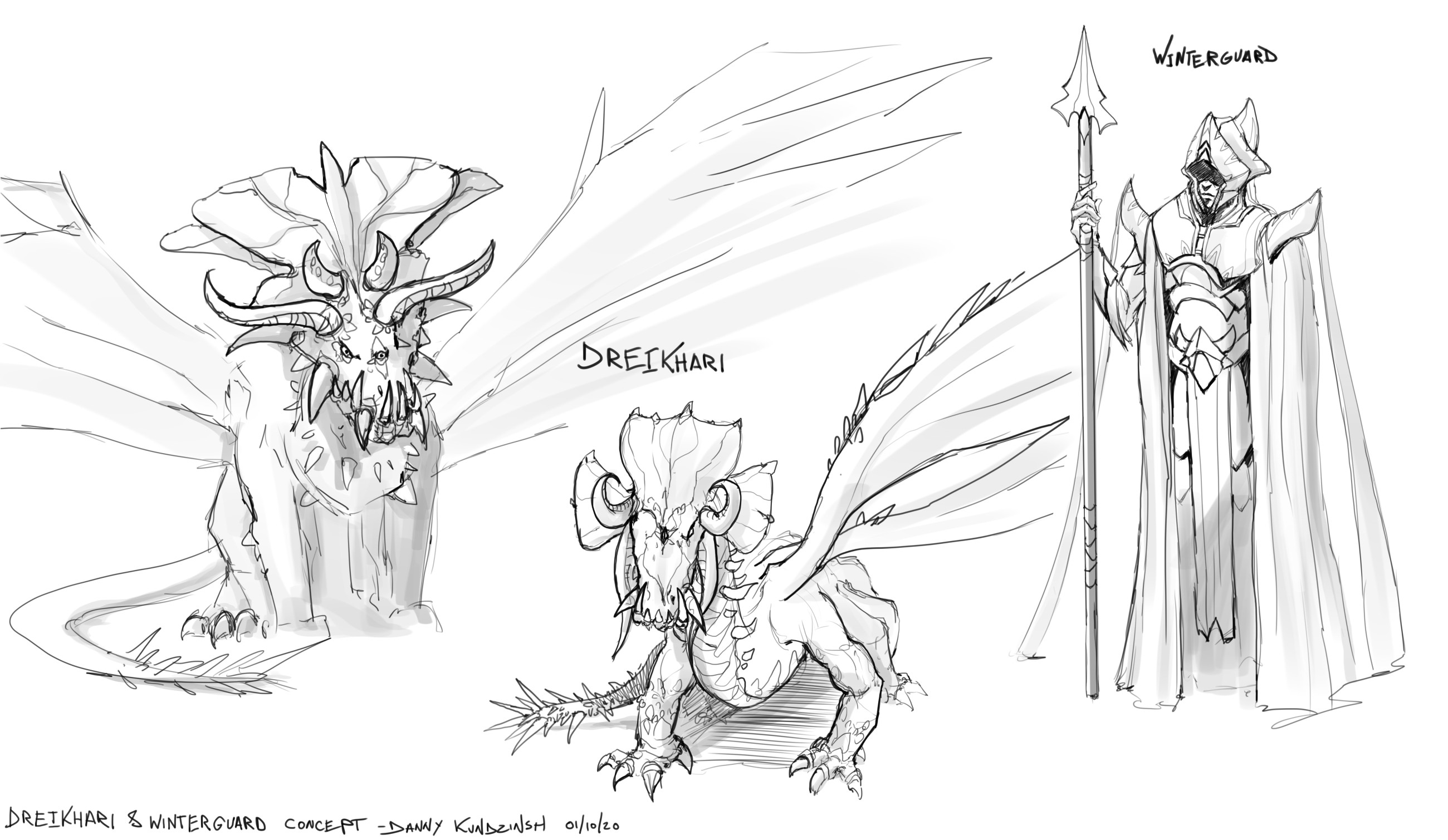 early iterations for the dragon design