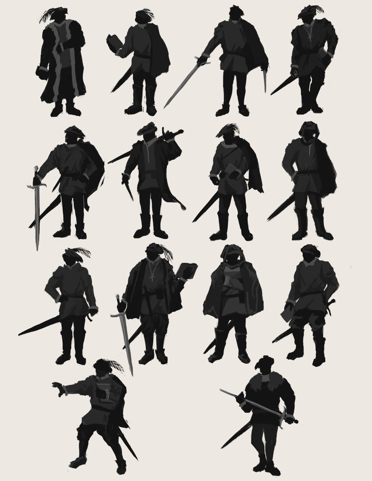 Initial silhouette thumbnail sketching (second from the third row was chosen)