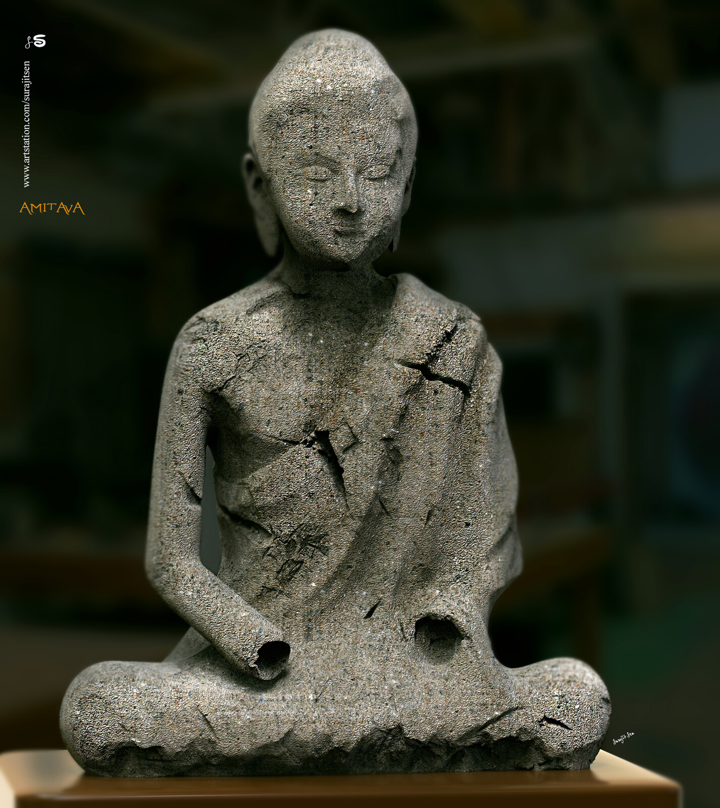 """I like Ancient Art. Wish to share one of my Digital Sculpt Art """"Amitava"""". Inspired by Early 7th century Tang dynasty (China,618–907) Sculpture."""