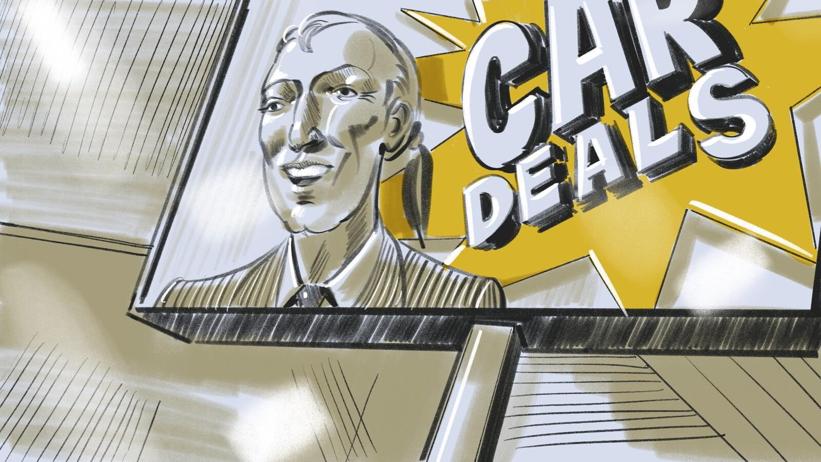 FRAME #24-POV-Low-Floating: Mick's POV looking up at banner: ... and spots Raeks' smiling mug splashed across a dealership banner hanging above.